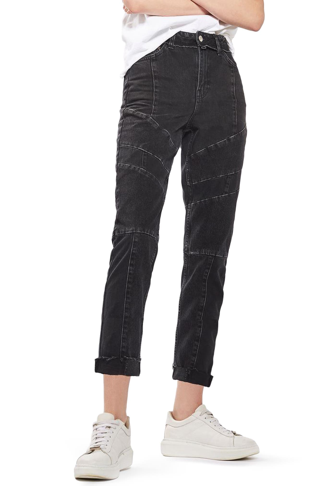 TOPSHOP Panel Mom Jeans, Main, color, 001