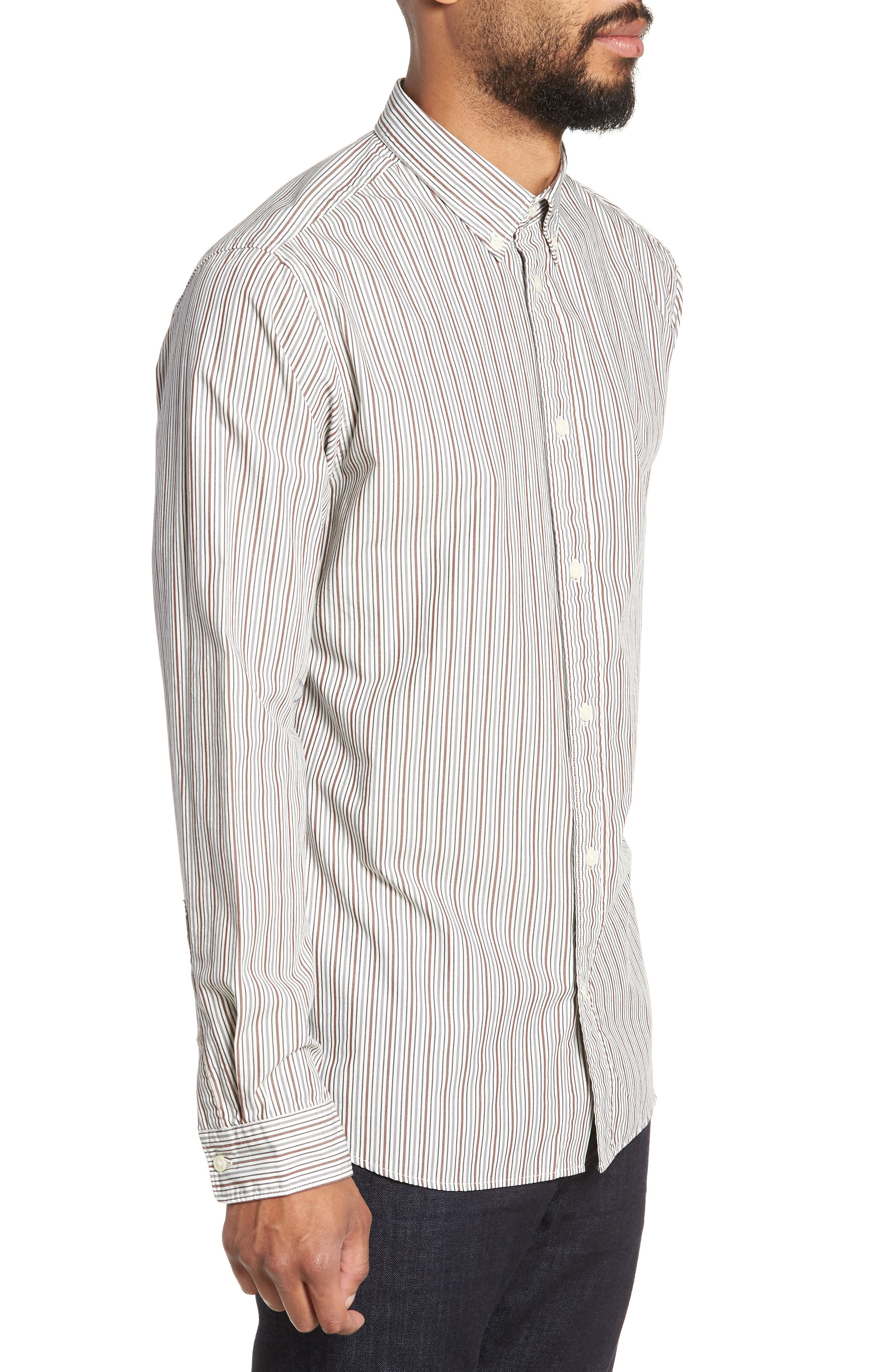 Carlo Regular Fit Stripe Sport Shirt,                             Alternate thumbnail 4, color,                             QUIET SHADE STRIPES
