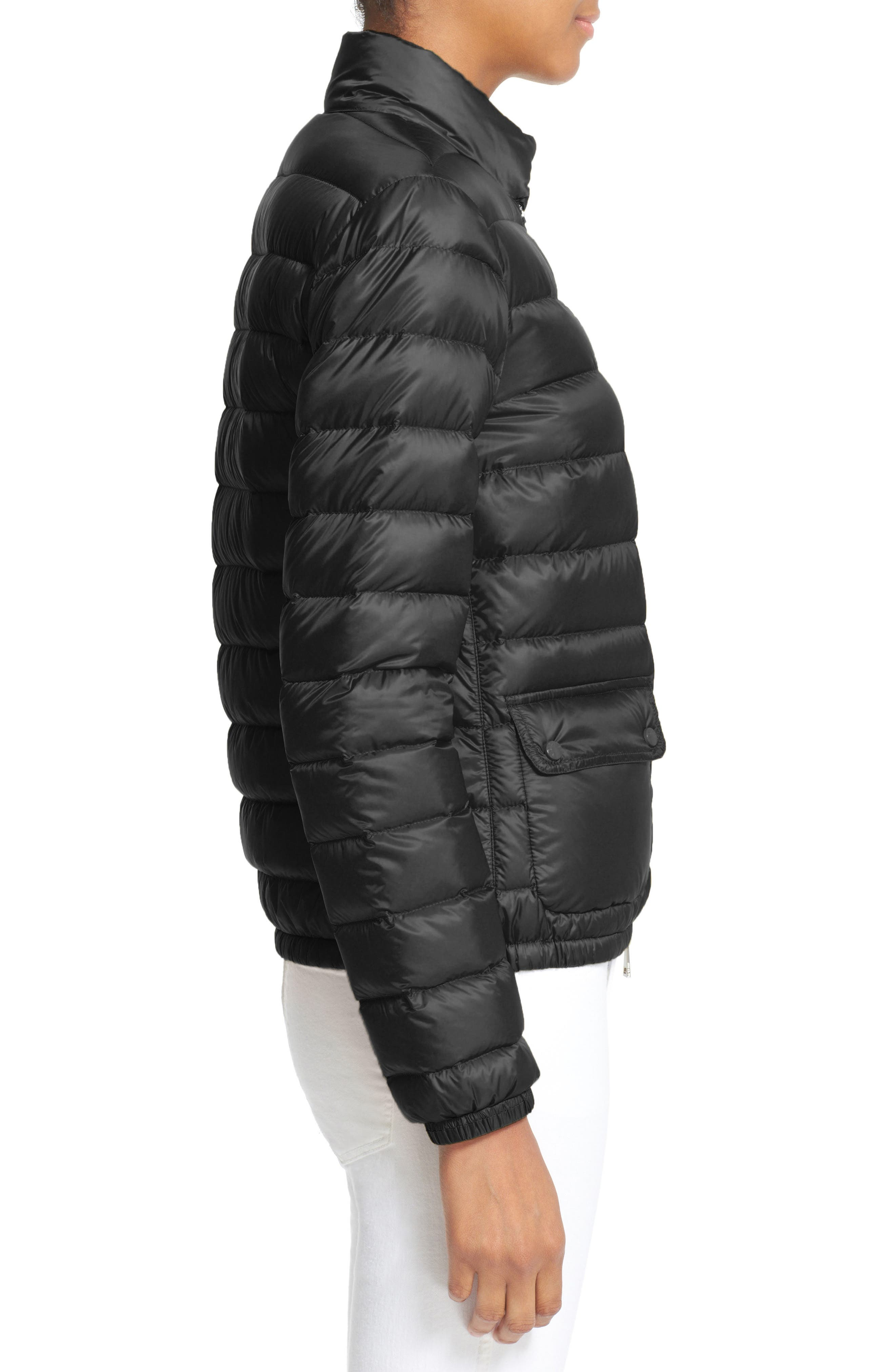 'Lans' Water Resistant Short Down Jacket,                             Alternate thumbnail 4, color,                             BLACK