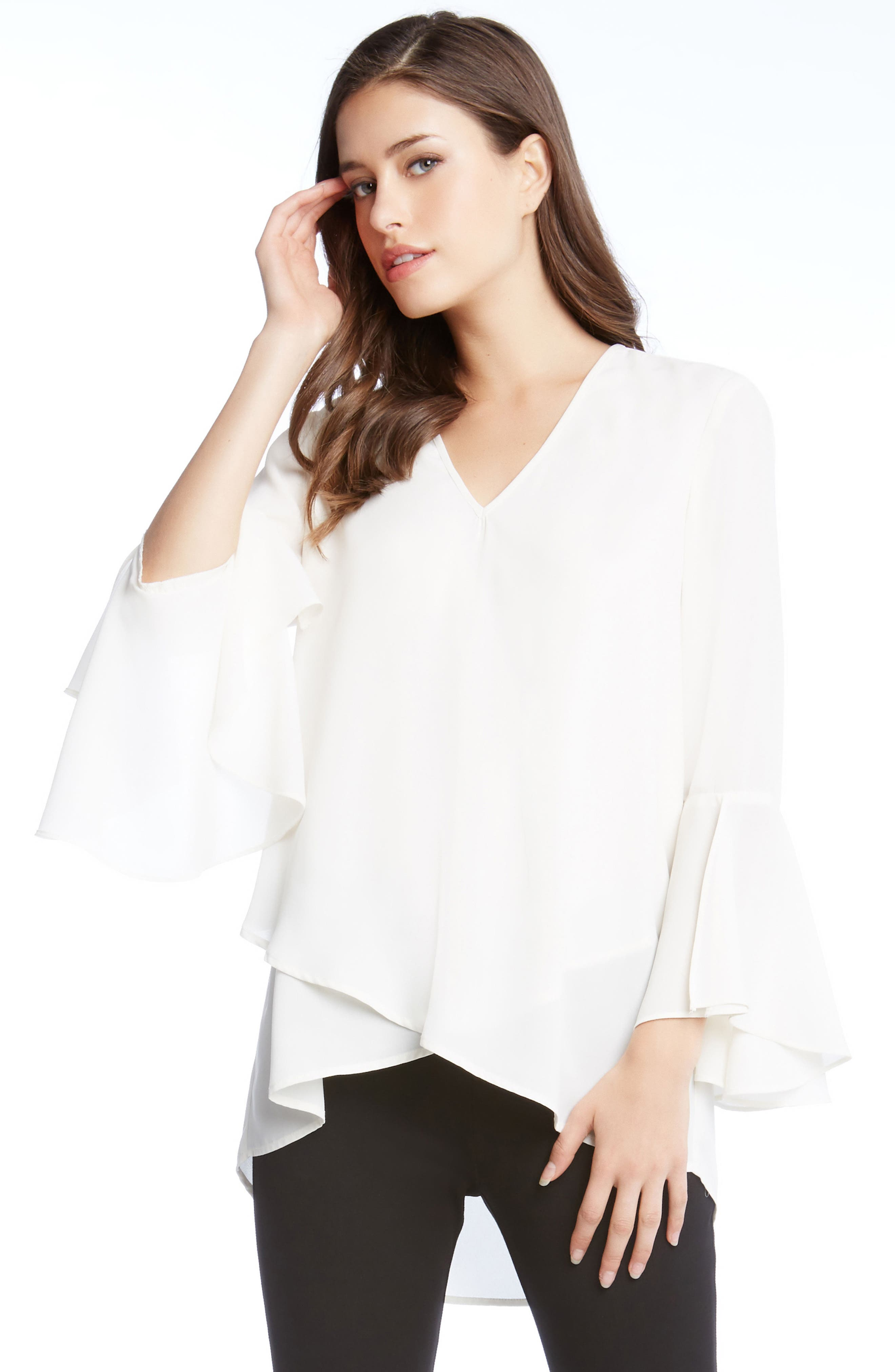 Slit Sleeve High/Low Top,                             Alternate thumbnail 9, color,