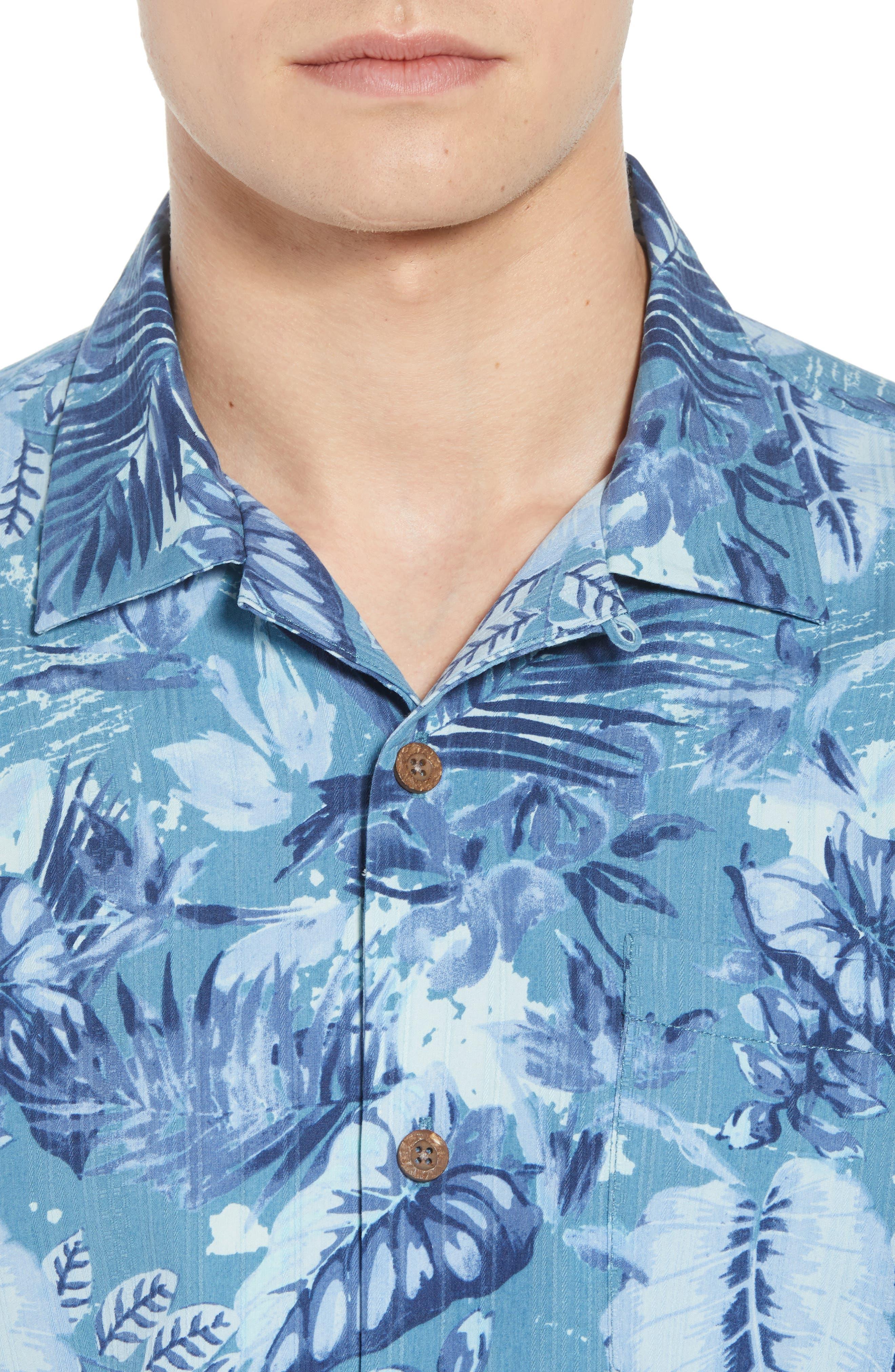 Selva Shores Silk Blend Camp Shirt,                             Alternate thumbnail 4, color,                             400
