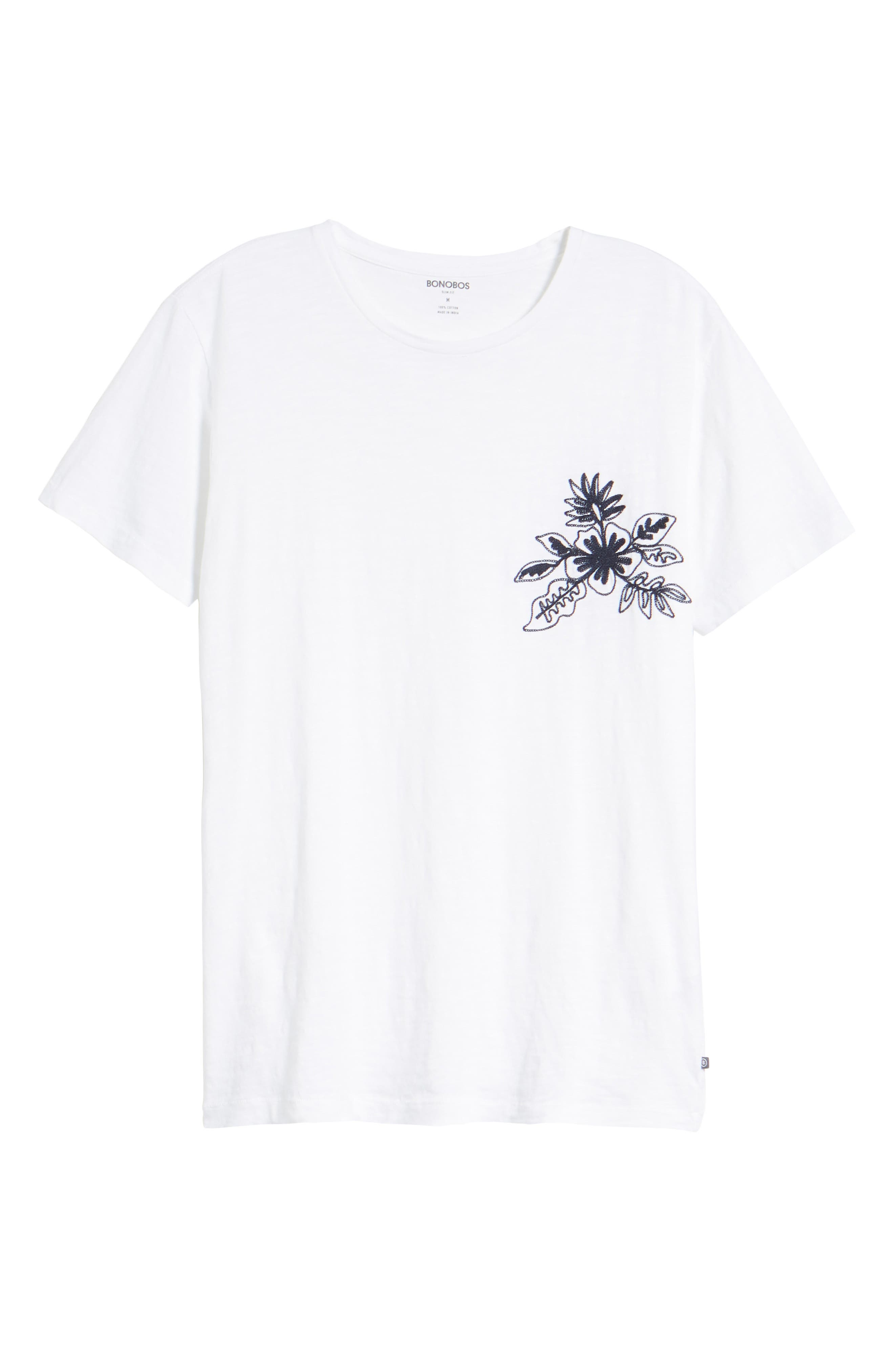 Embroidered T-Shirt,                             Alternate thumbnail 6, color,                             100