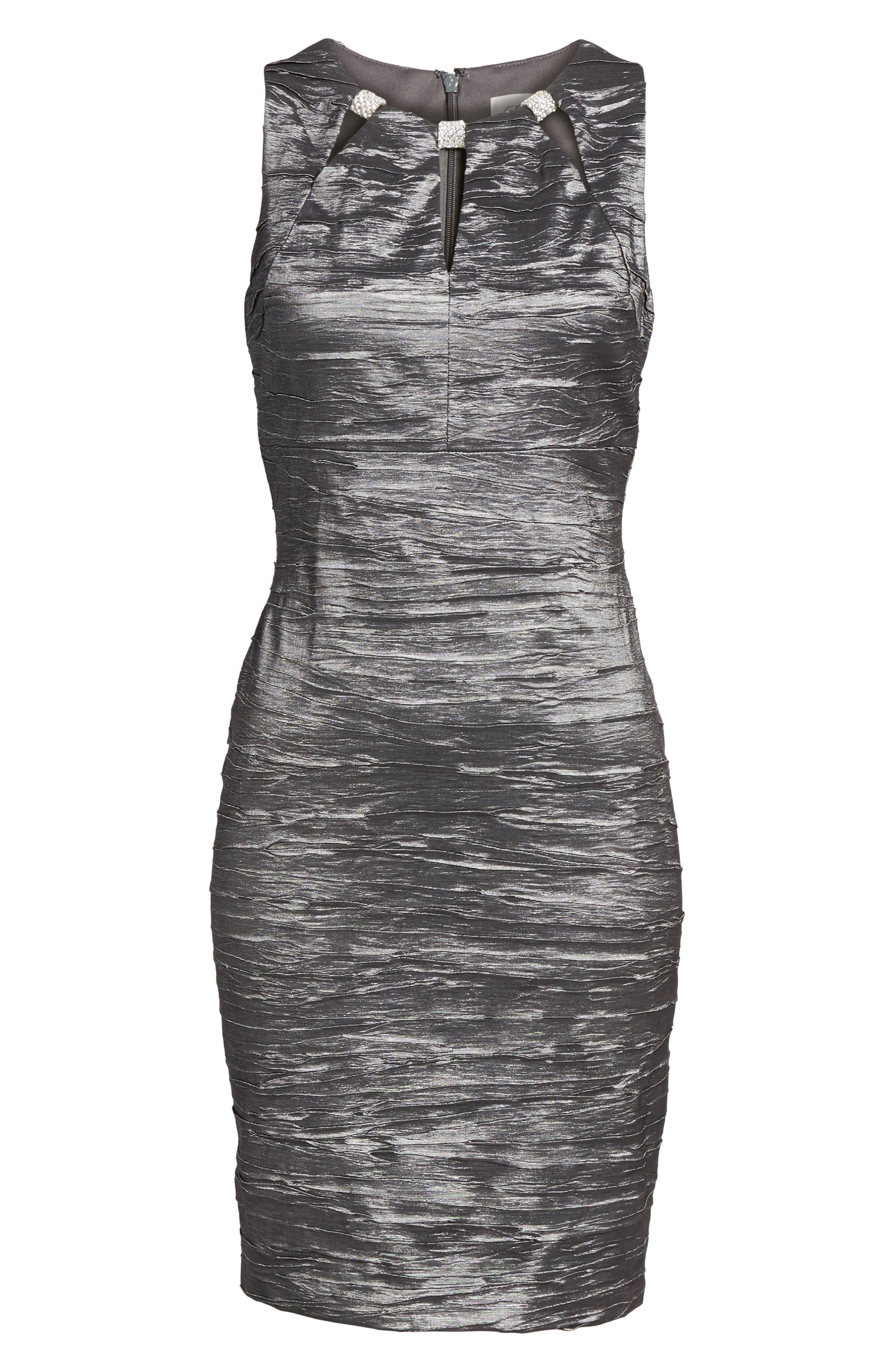 Embellished Cutout Taffeta Sheath Dress,                             Alternate thumbnail 8, color,                             CHARCOAL