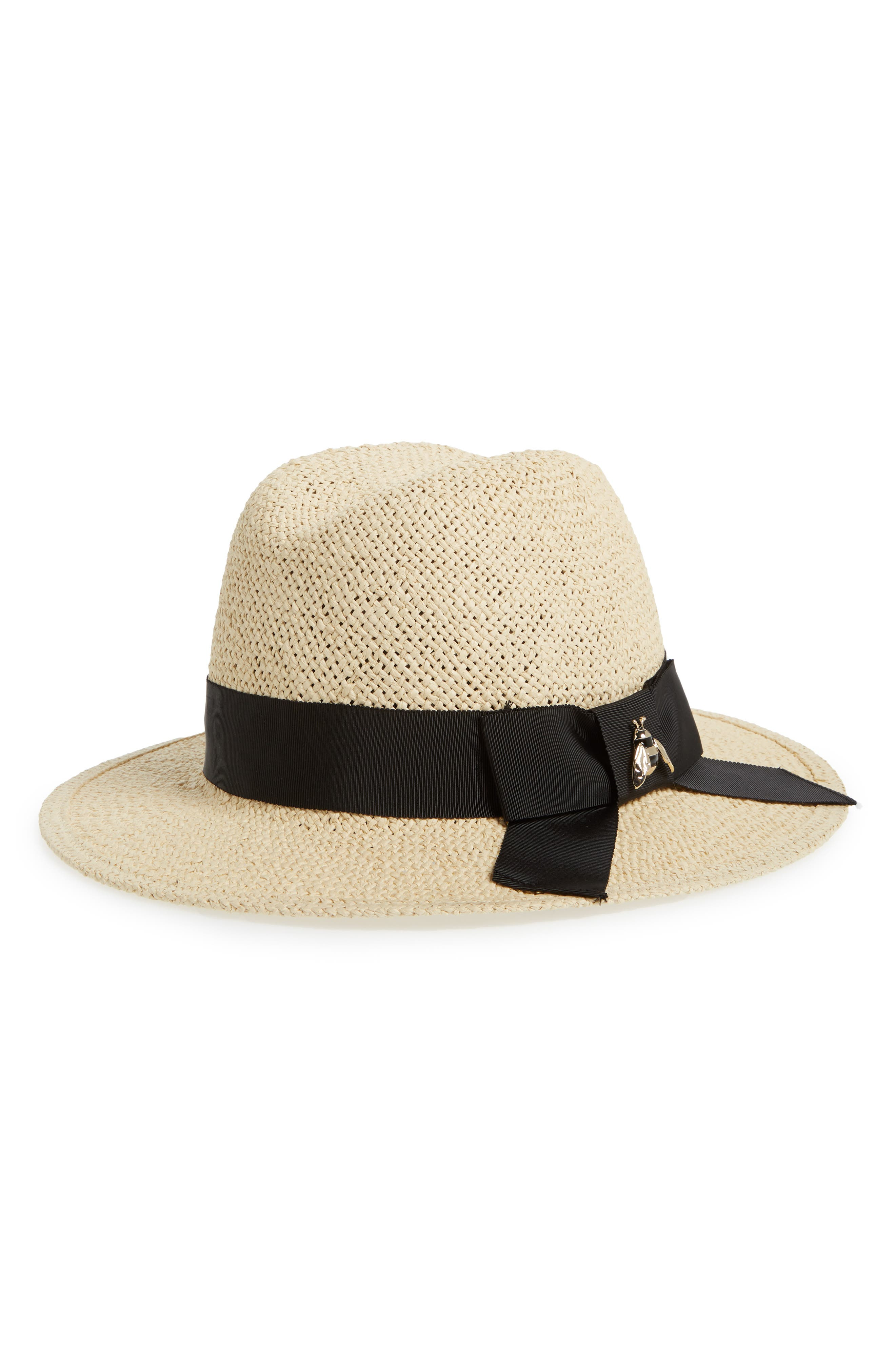 bee charm straw fedora,                             Main thumbnail 1, color,                             200
