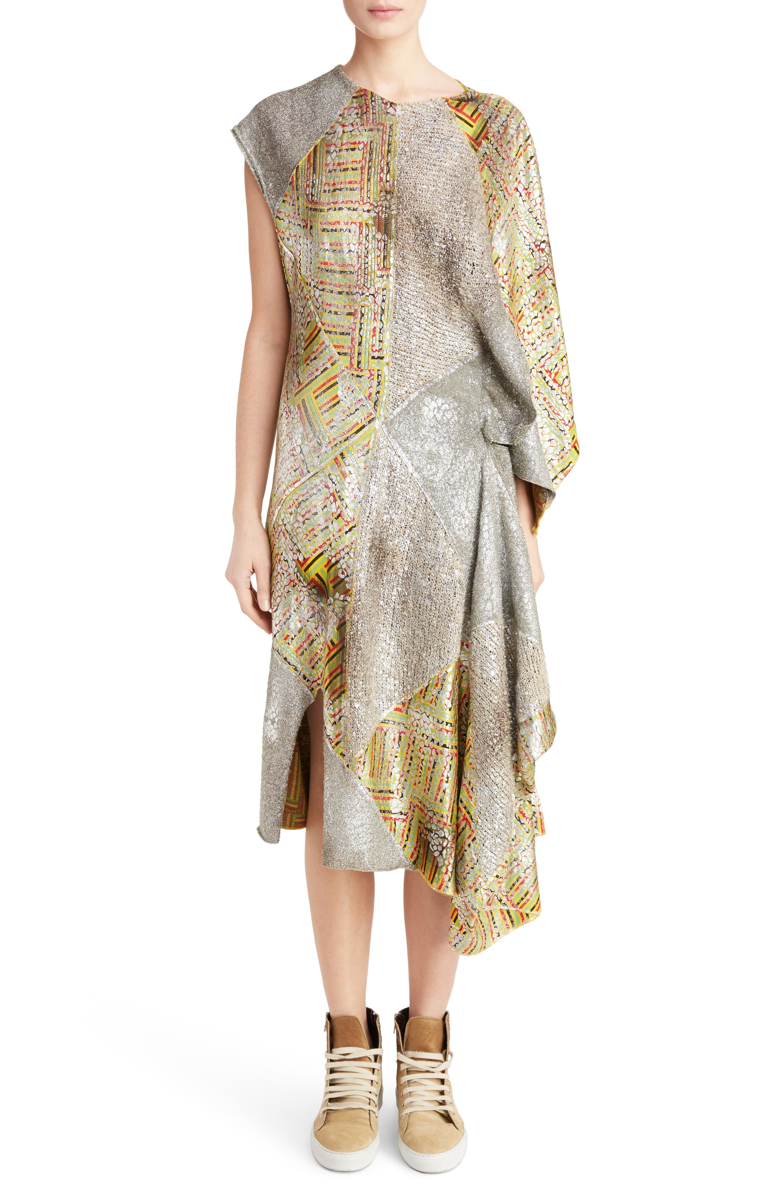 J.W.ANDERSON Geo Patterned Asymmetrical Draped Dress,                             Main thumbnail 1, color,                             040