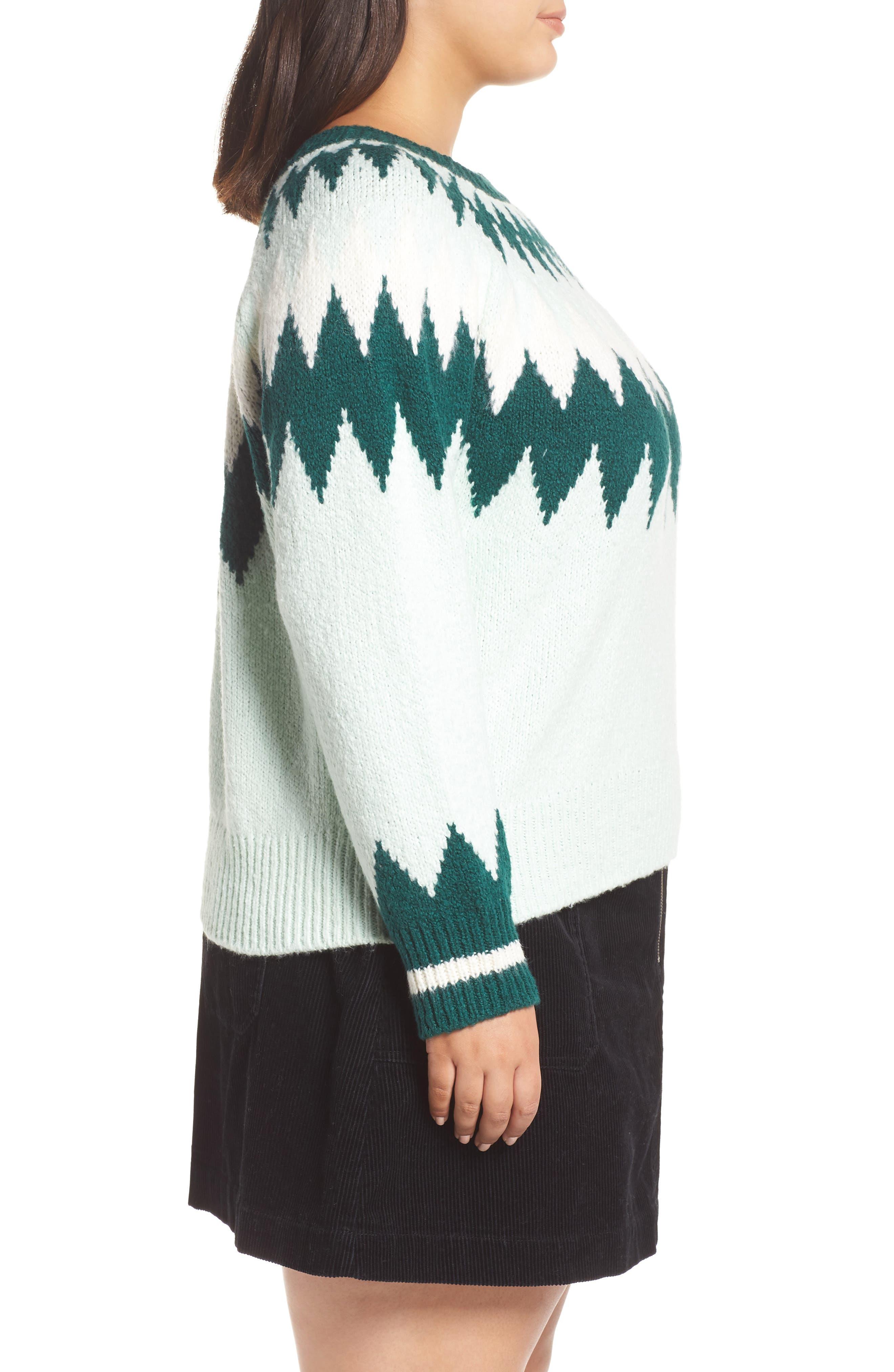 Cozy Ski Sweater,                             Alternate thumbnail 3, color,                             GREEN PLACID FAIRISLE