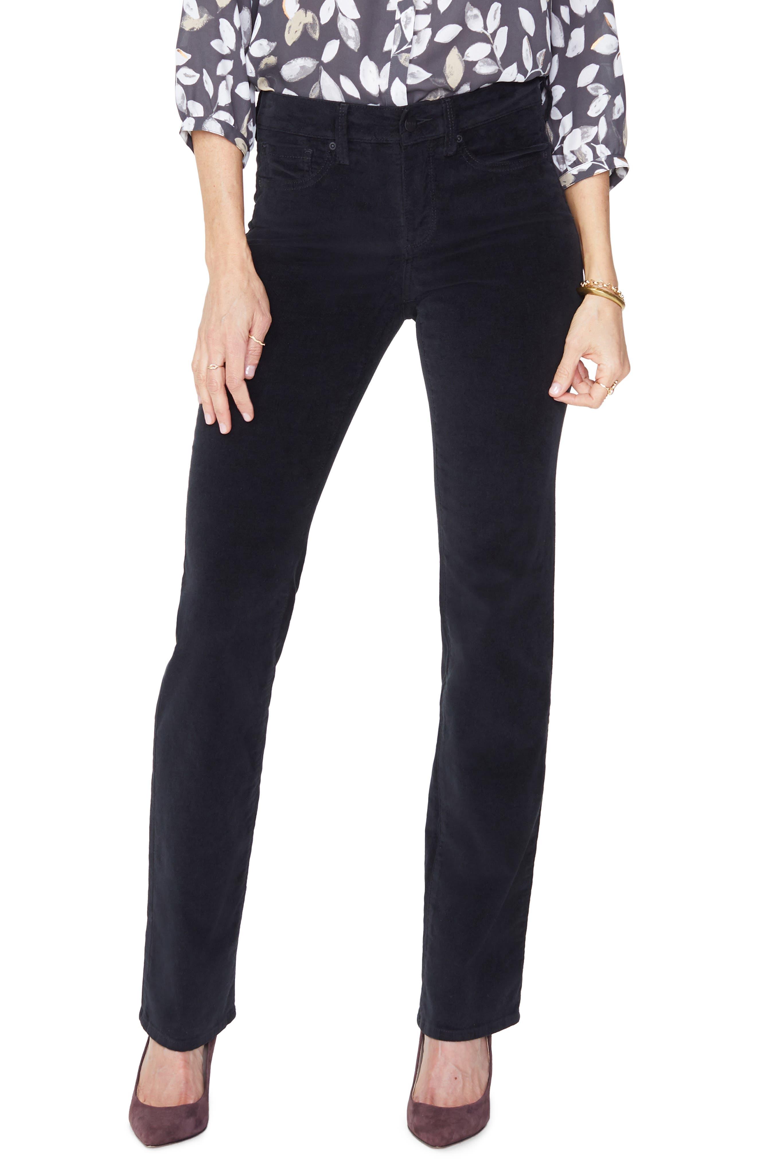 Marilyn Straight Leg Velveteen Pants,                             Main thumbnail 1, color,                             BLACK