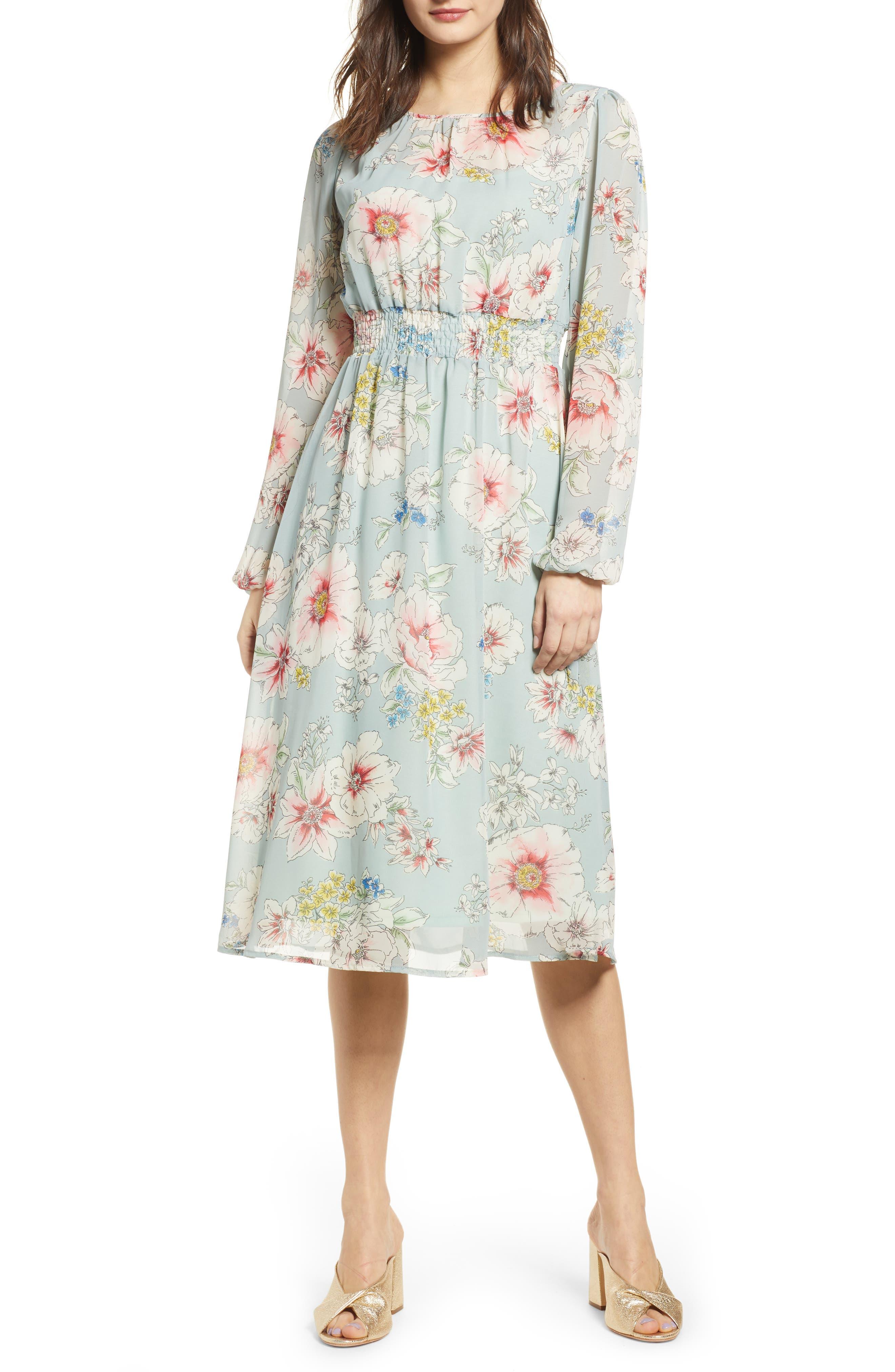 Leith Long Sleeve Chiffon Dress, Grey