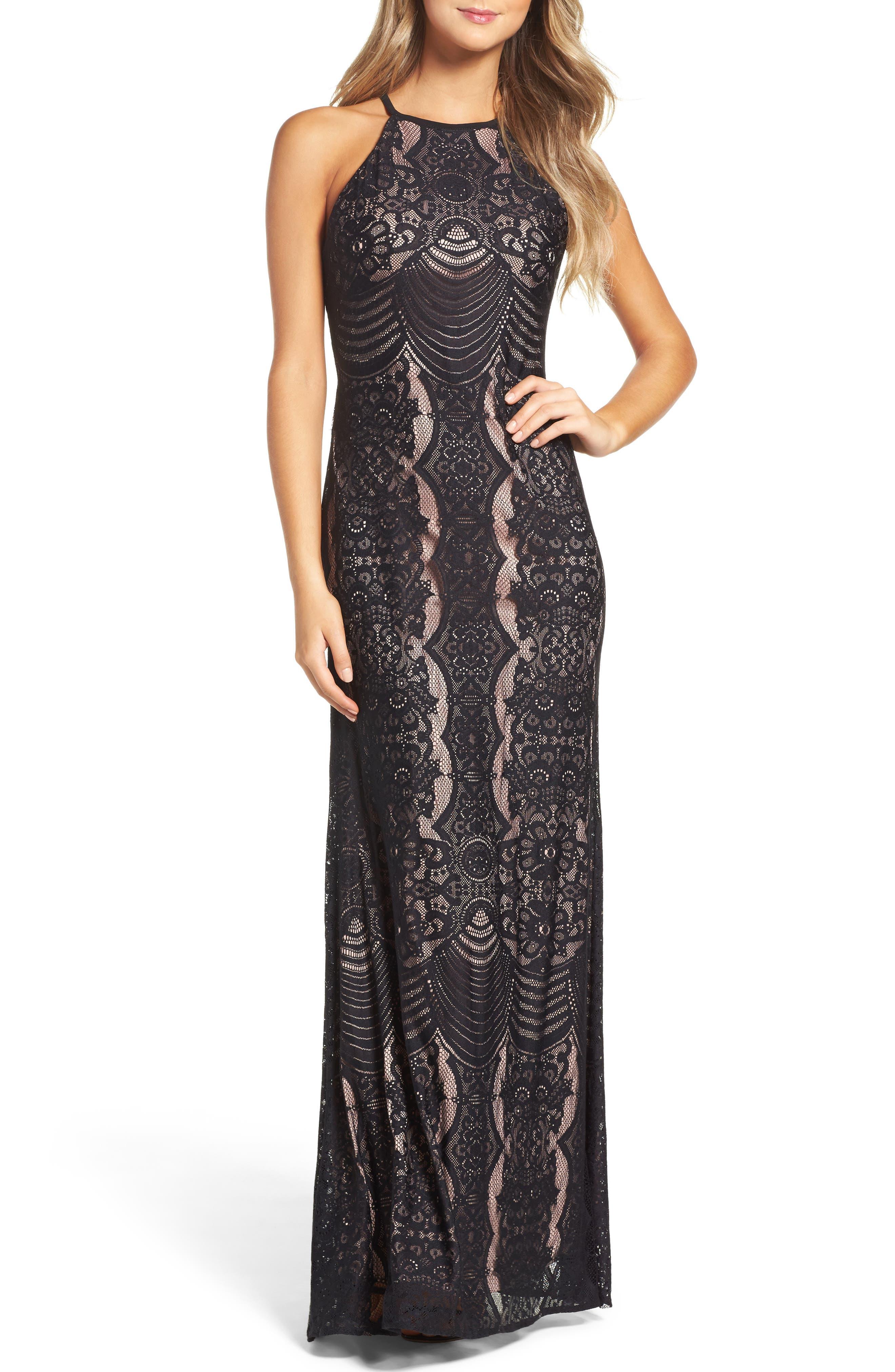 MORGAN & CO.,                             Lace Halter Gown,                             Main thumbnail 1, color,                             BLACK/ NUDE