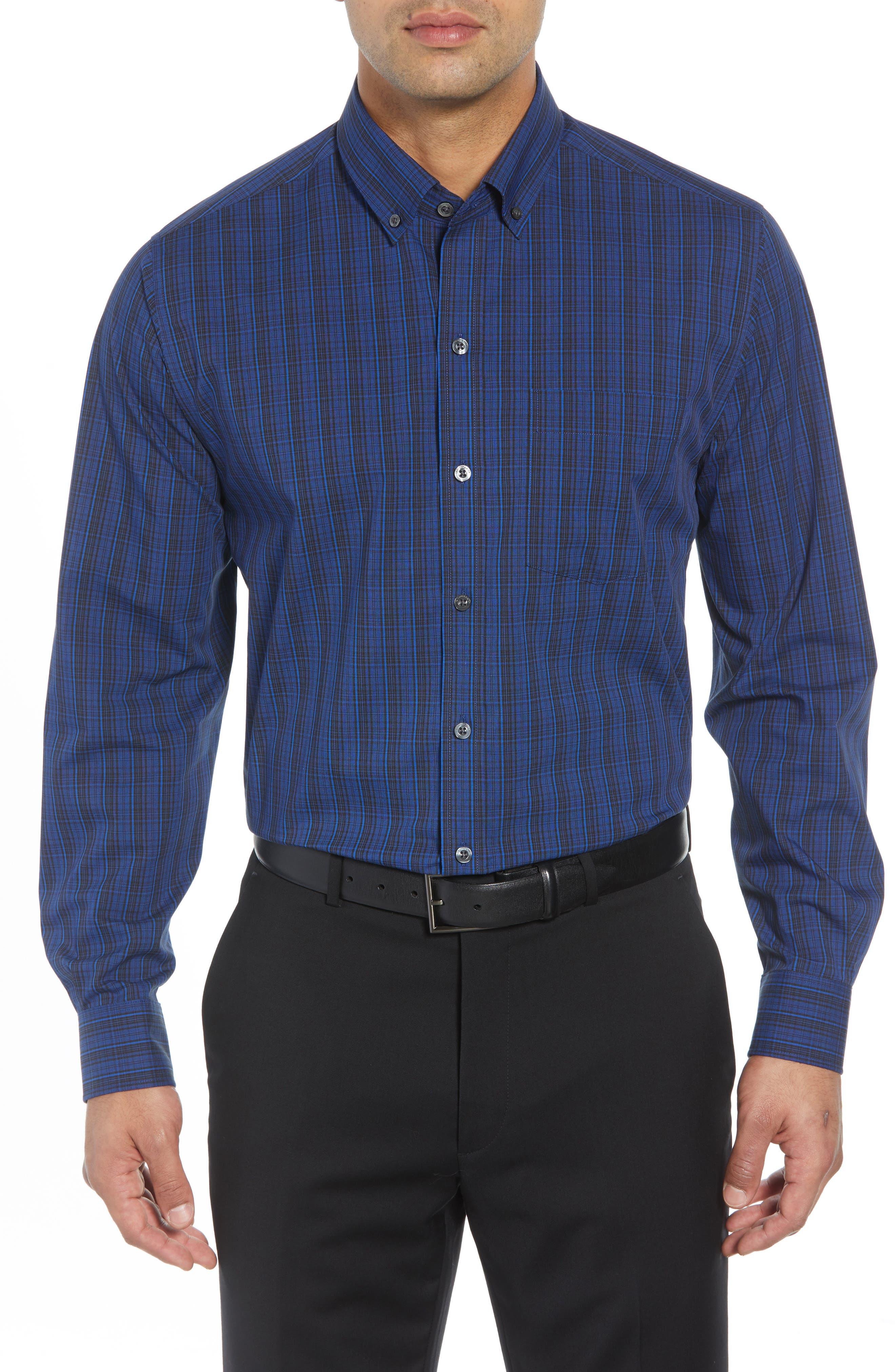 Cutter & Buck Logan Regular Fit Non-Iron Sport Shirt, Blue