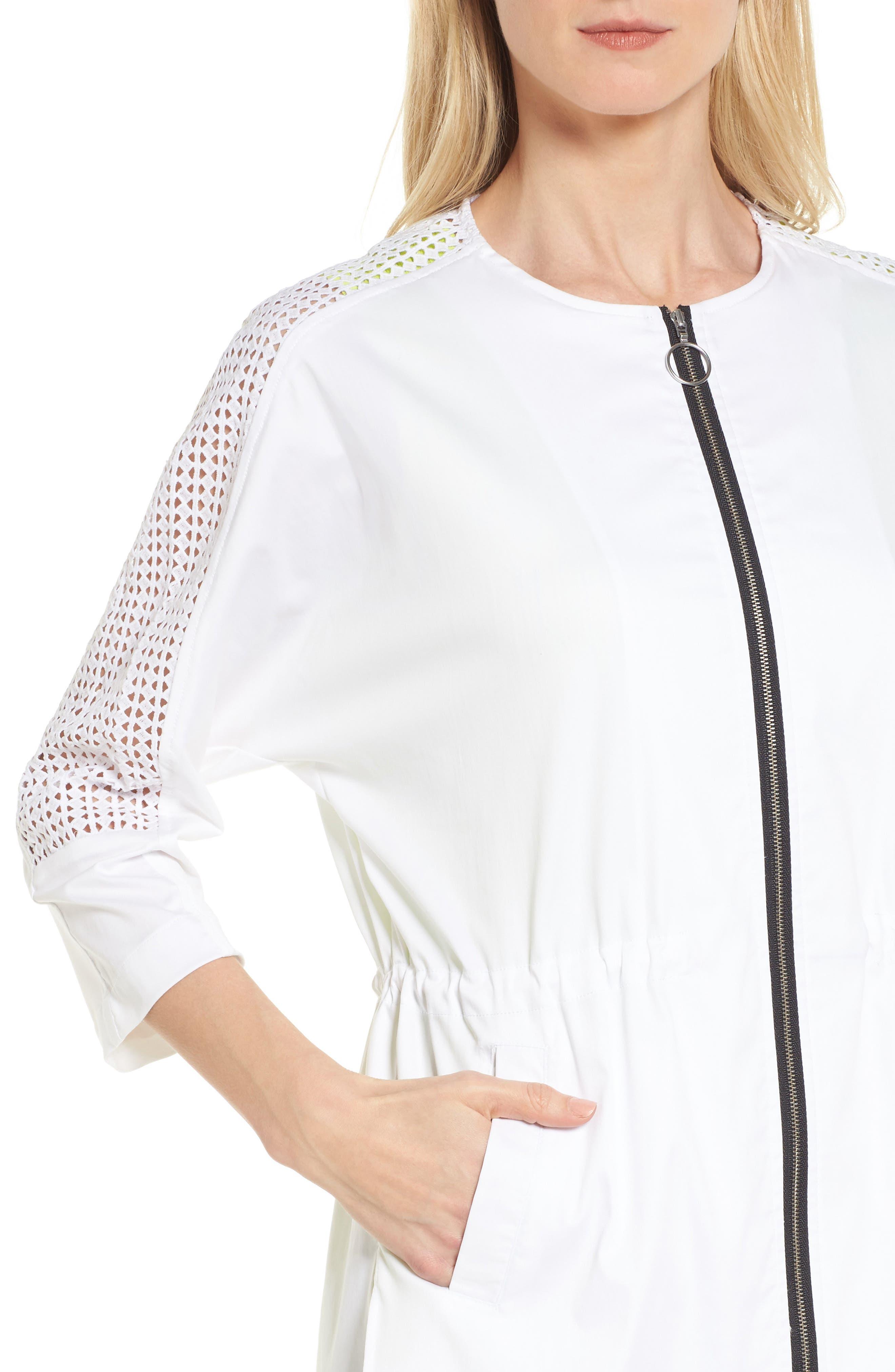 Eyelet Sleeve Front Zip Jacket,                             Alternate thumbnail 4, color,                             WHITE/ BLACK