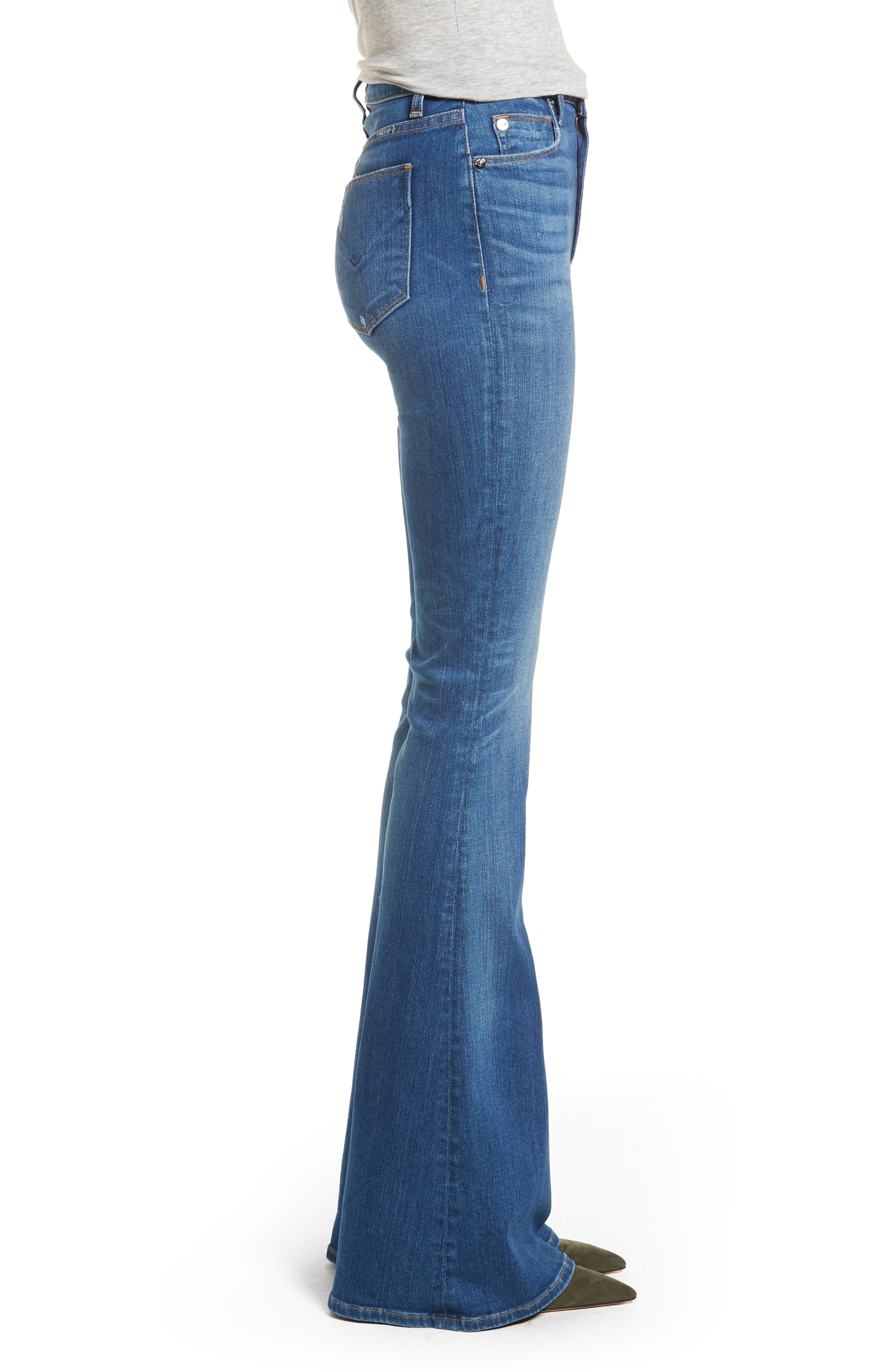 Holly High Waist Flare Jeans,                             Alternate thumbnail 3, color,                             401