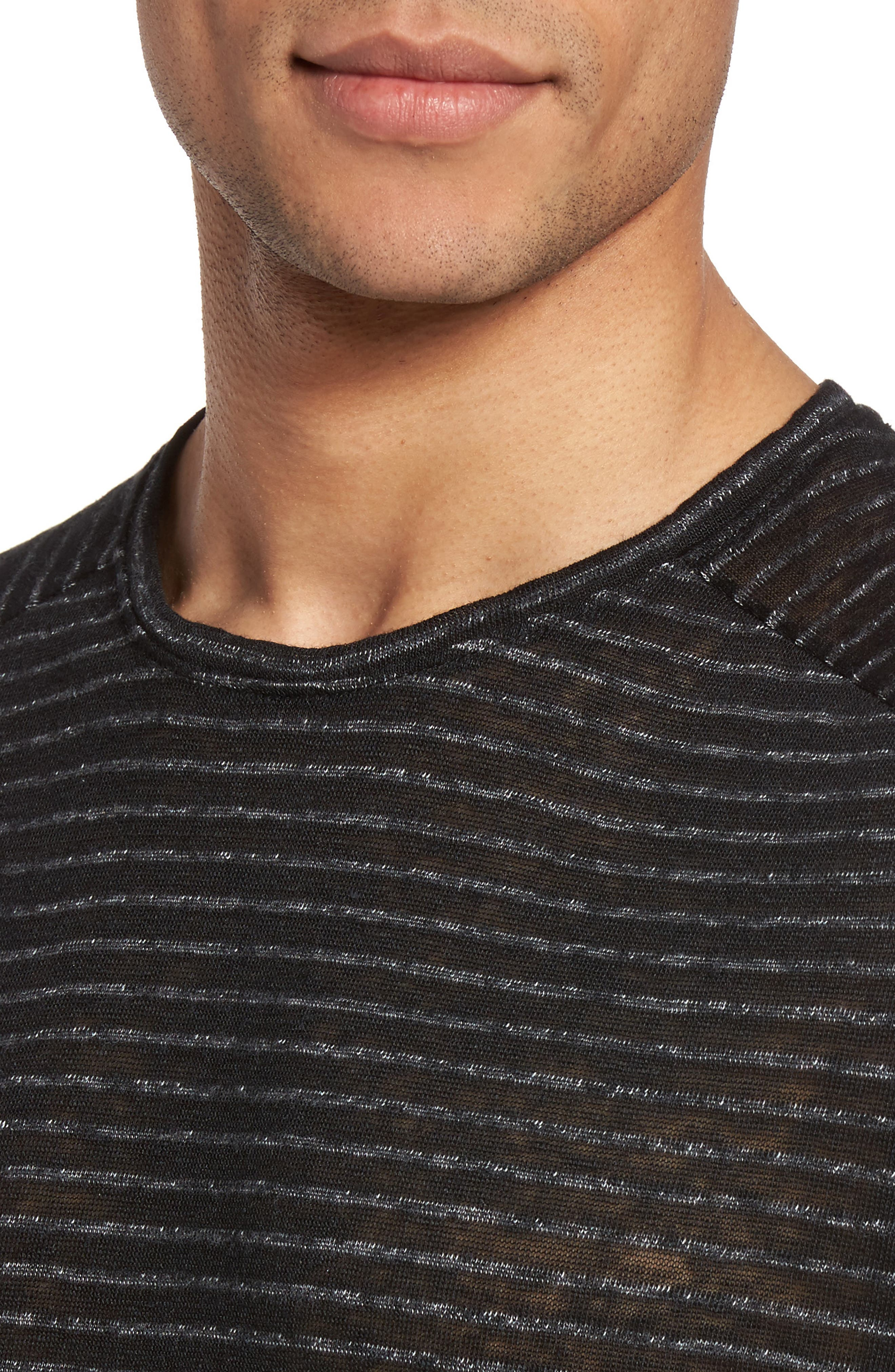 Plated Stripe T-Shirt,                             Alternate thumbnail 4, color,                             001
