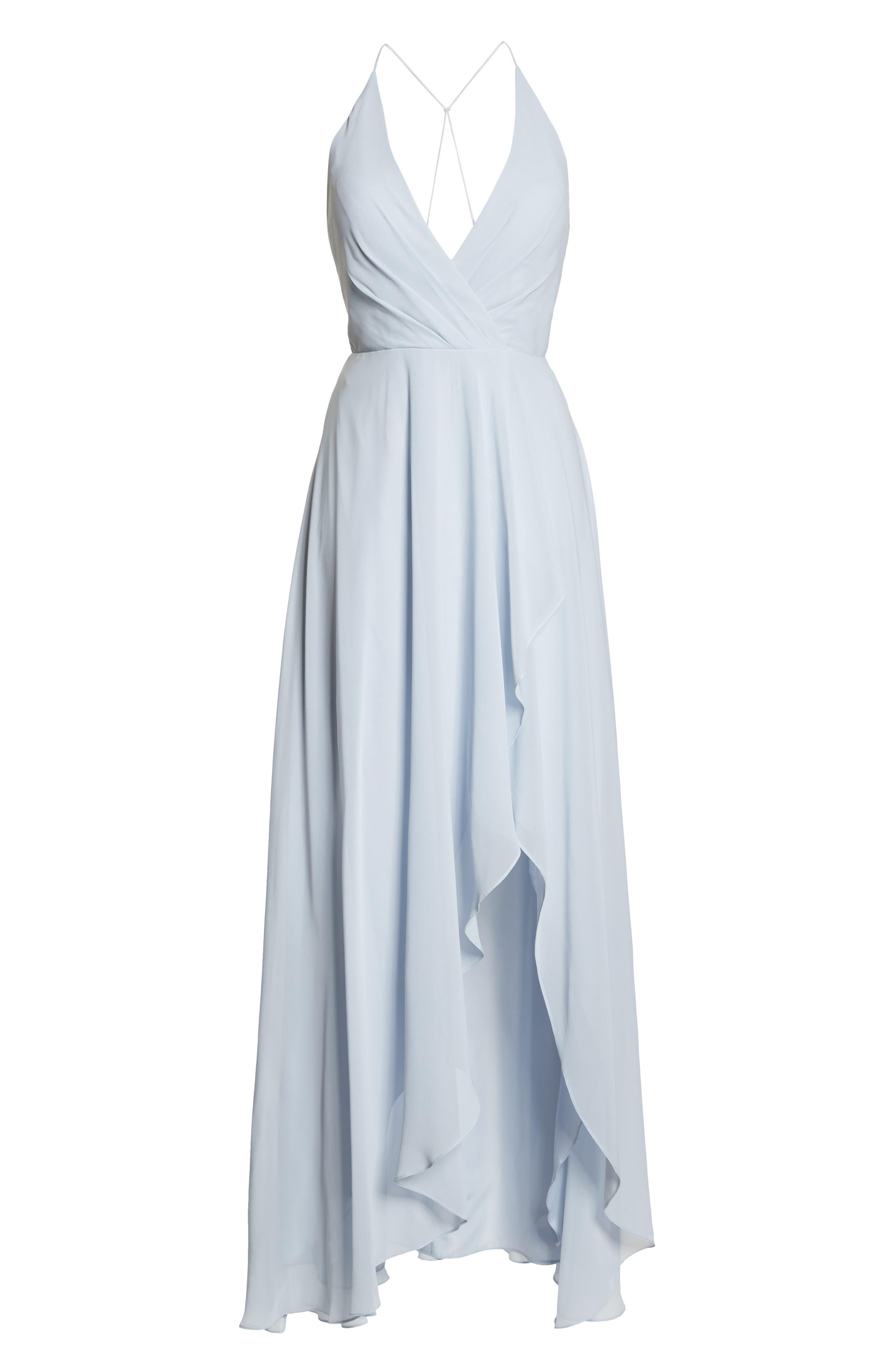 JENNY YOO, Farrah Ruffle Chiffon Gown, Alternate thumbnail 8, color, WHISPER BLUE