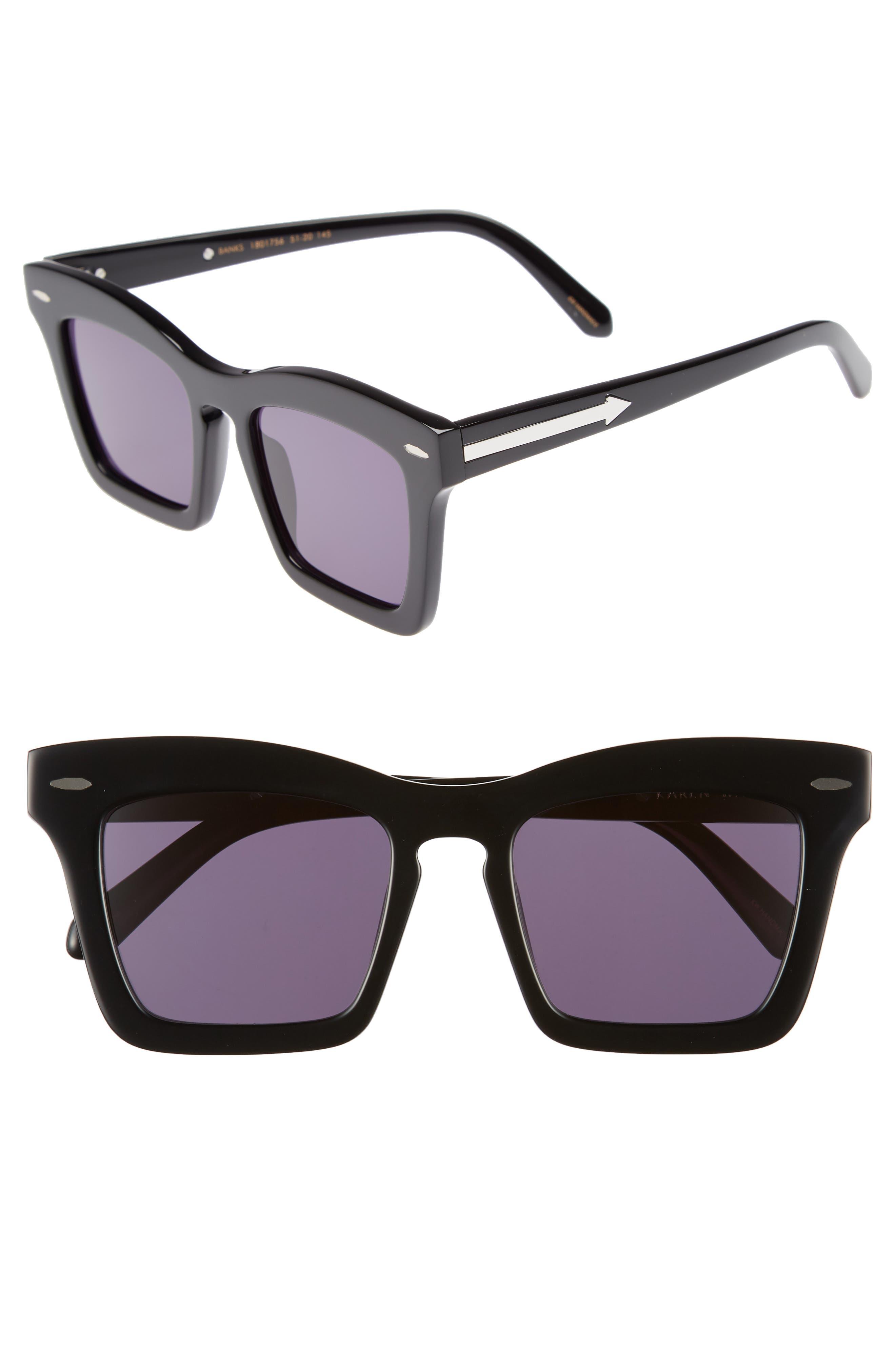 Banks 51mm Rectangular Sunglasses,                             Main thumbnail 1, color,                             BLACK