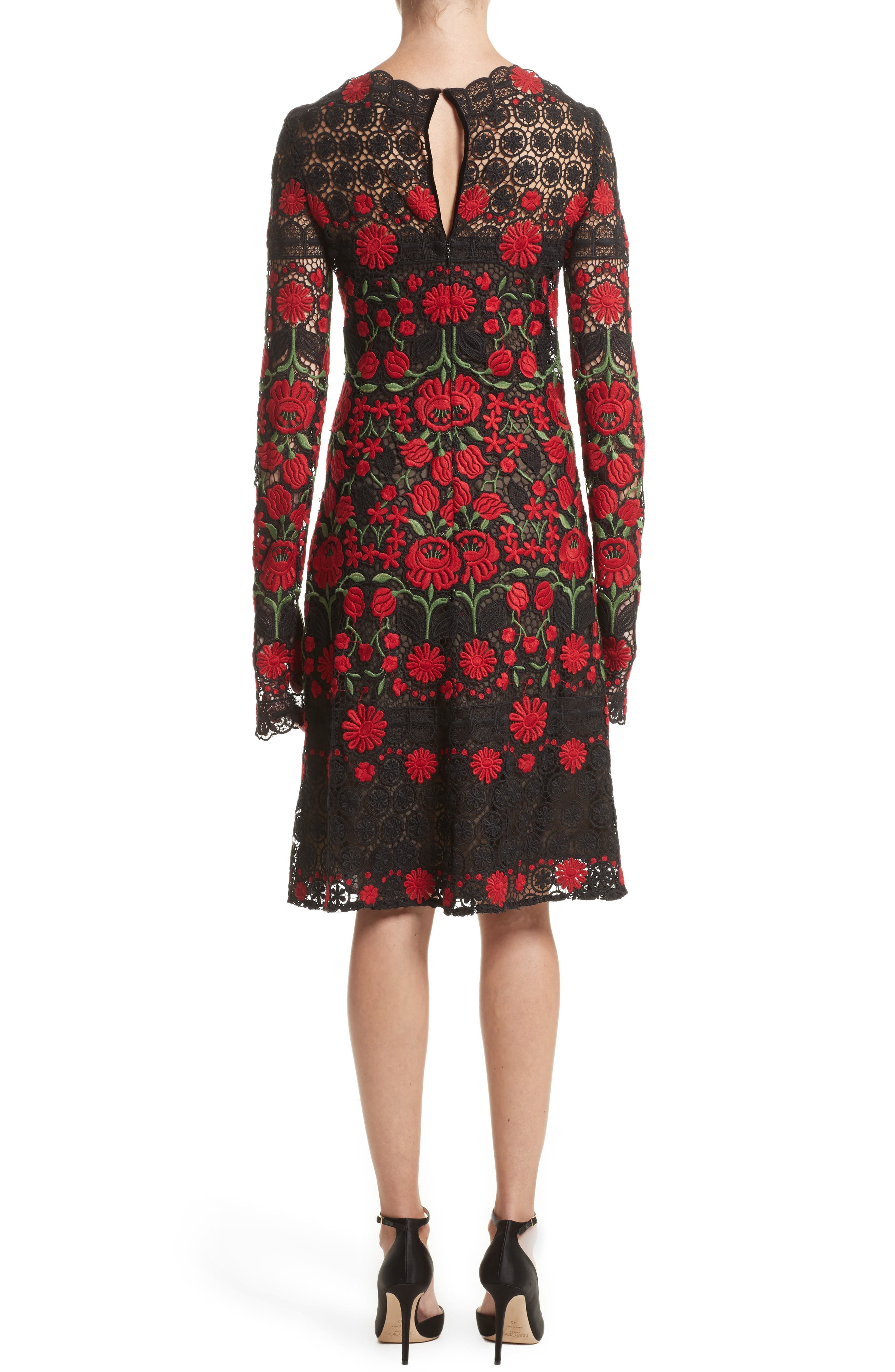 Floral Embroidered Elongated Sleeve Dress,                             Alternate thumbnail 2, color,                             611