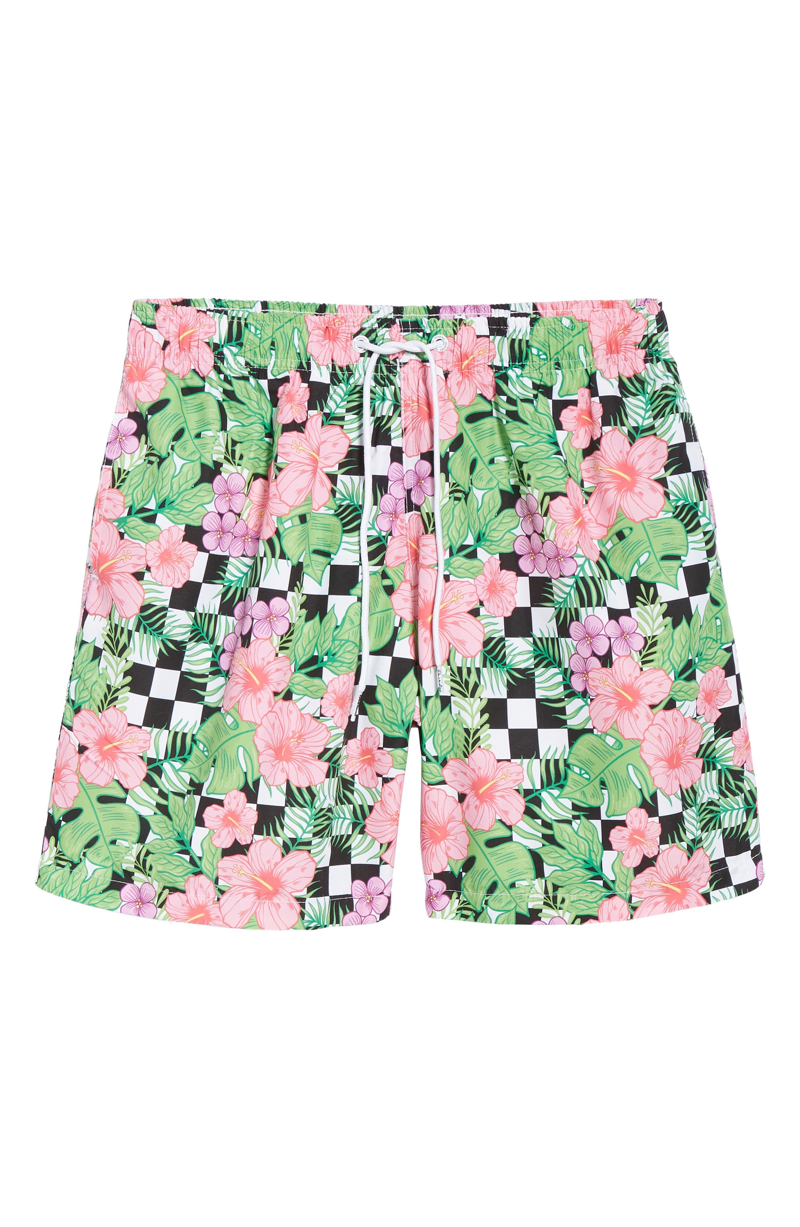 Checkerboard Floral Print Swim Trunks,                             Alternate thumbnail 6, color,                             MULTI