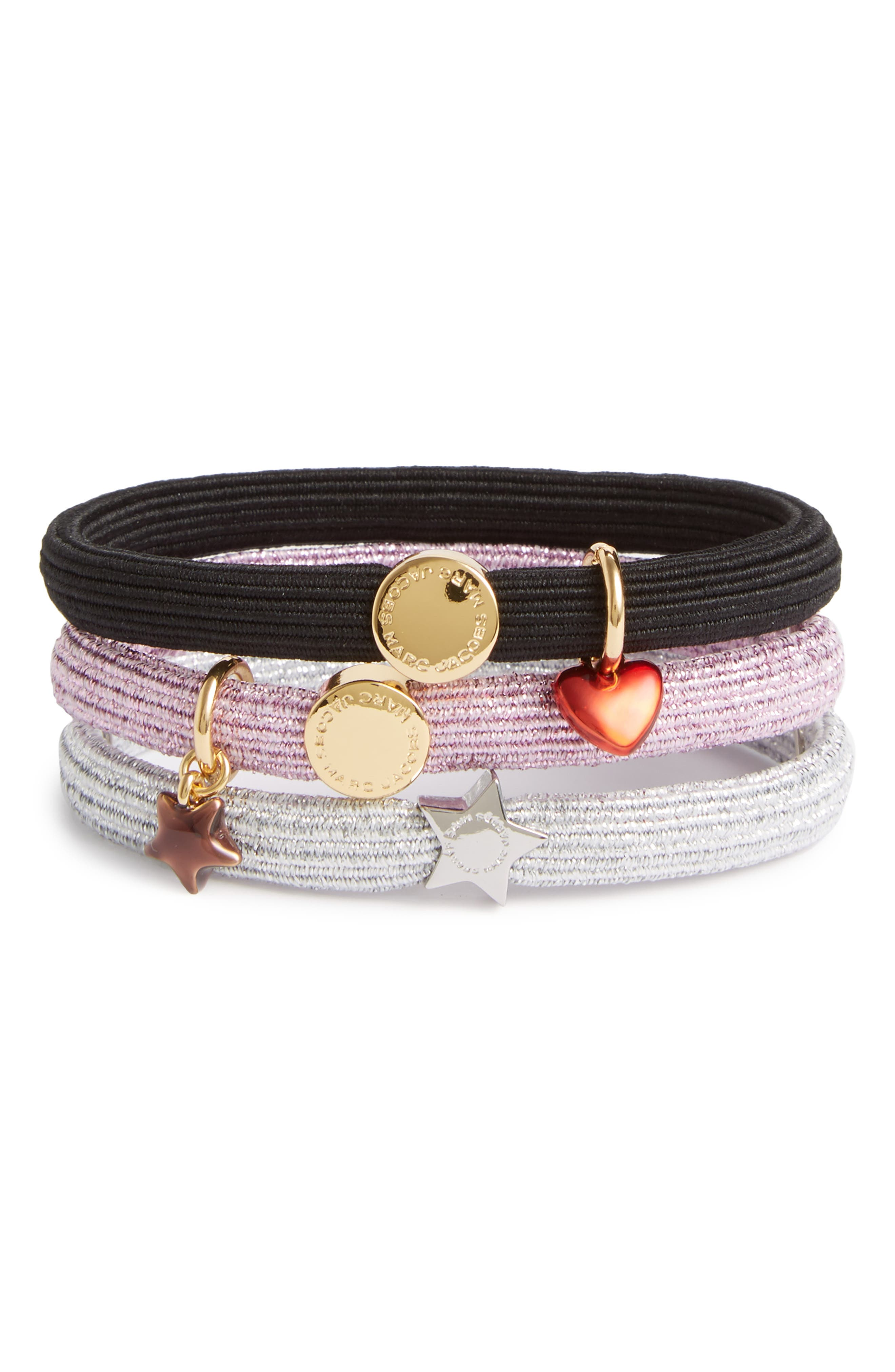 Set of 3 Heart & Star Charm Ponytail Holders,                         Main,                         color, 650
