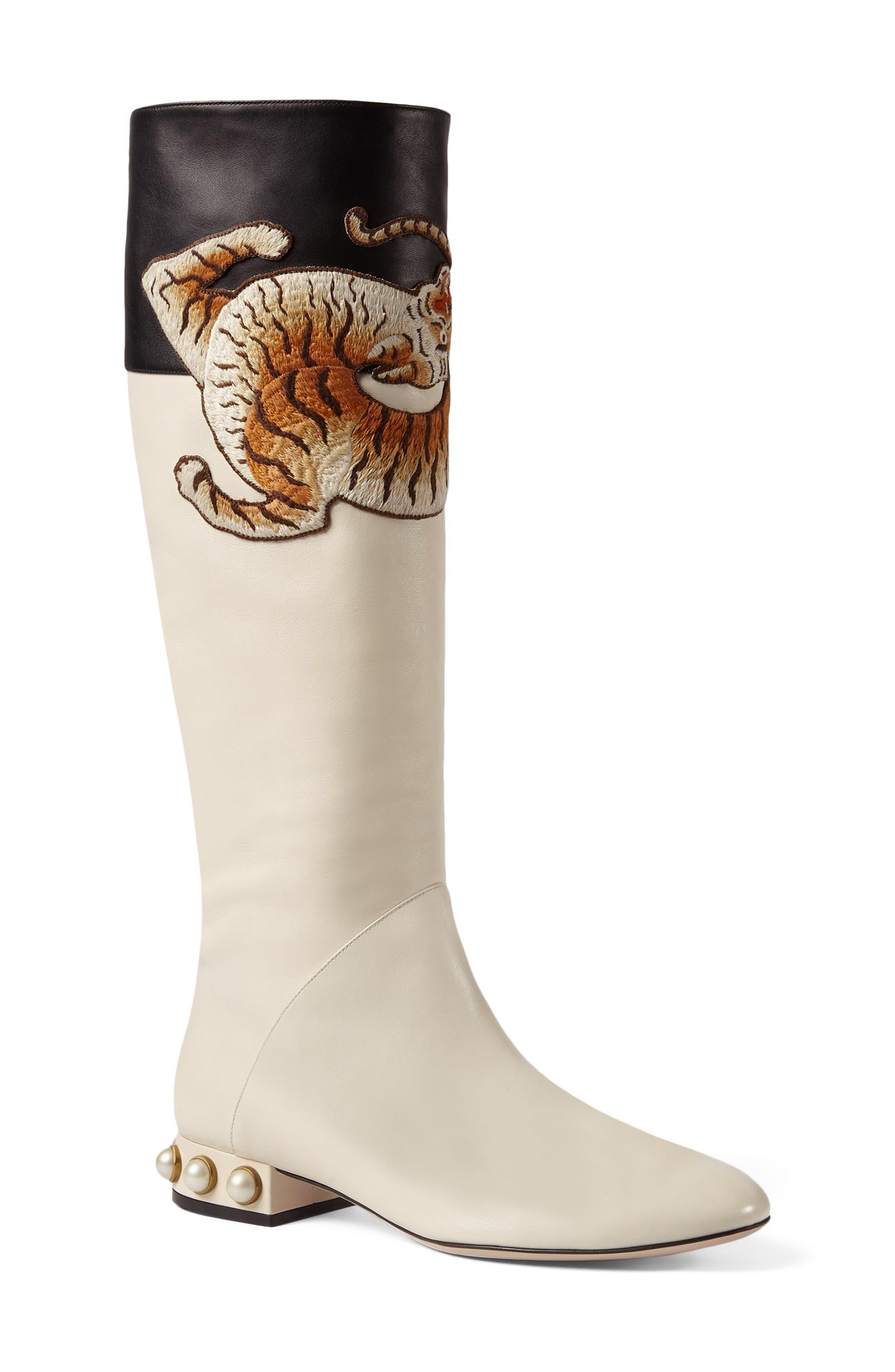 Imitation Pearl Tiger Appliqué Riding Boot,                             Alternate thumbnail 3, color,                             113