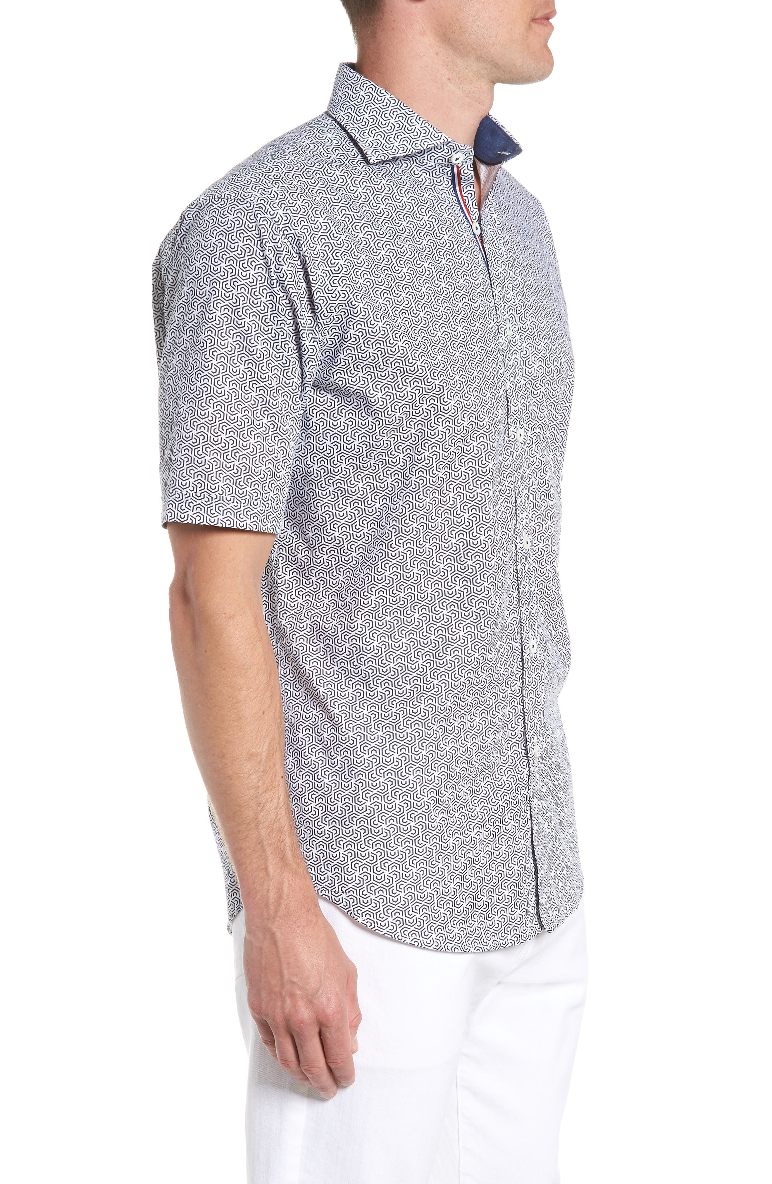 Classic Fit Maze Print Sport Shirt,                             Alternate thumbnail 4, color,                             NAVY