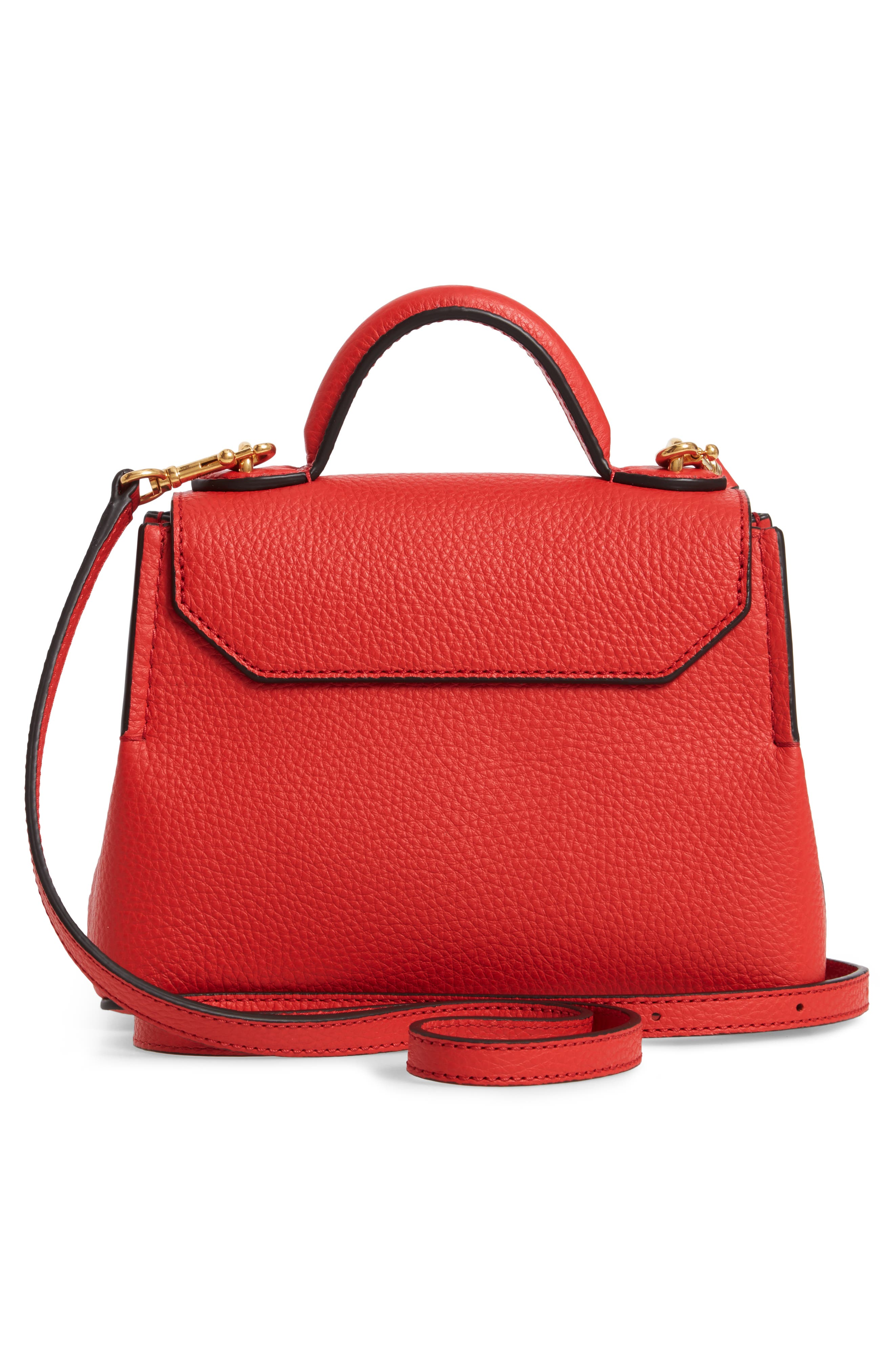 MULBERRY,                             Micro Seaton Leather Convertible Crossbody Bag,                             Alternate thumbnail 3, color,                             HIBISCUS RED