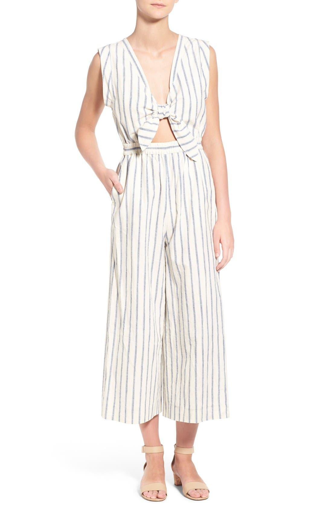 Ikat Stripe Tie Front Culotte Jumpsuit,                             Main thumbnail 1, color,