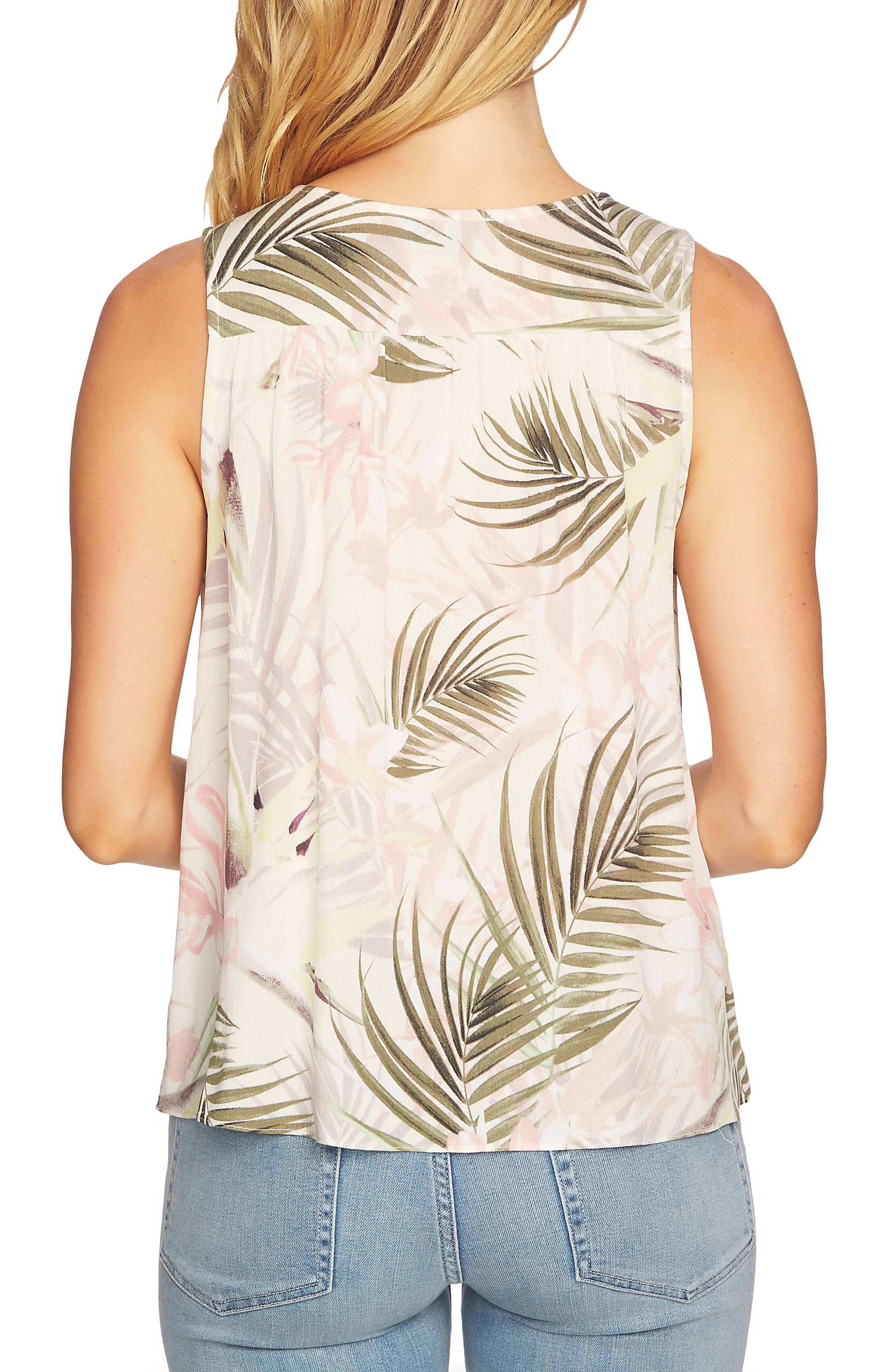 Soft Palms Tie Front Sleeveless Blouse,                             Alternate thumbnail 4, color,