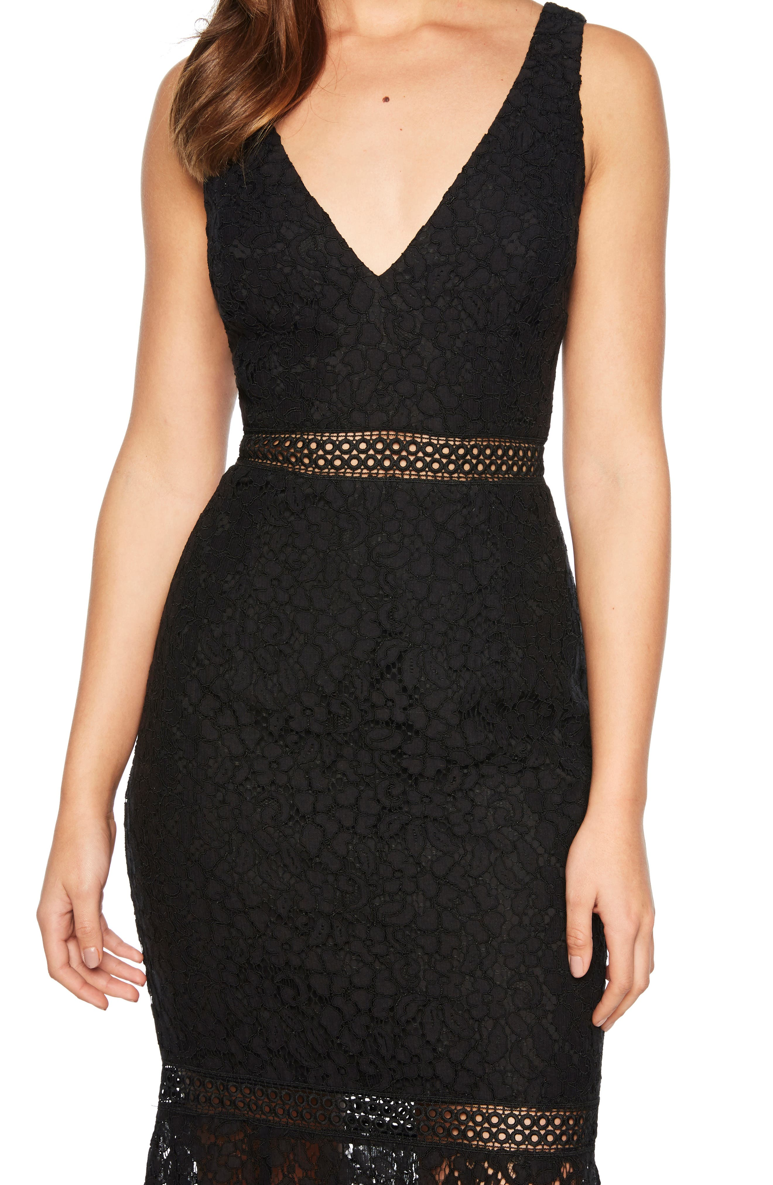 BARDOT,                             Sienna Lace Trumpet Dress,                             Alternate thumbnail 4, color,                             001