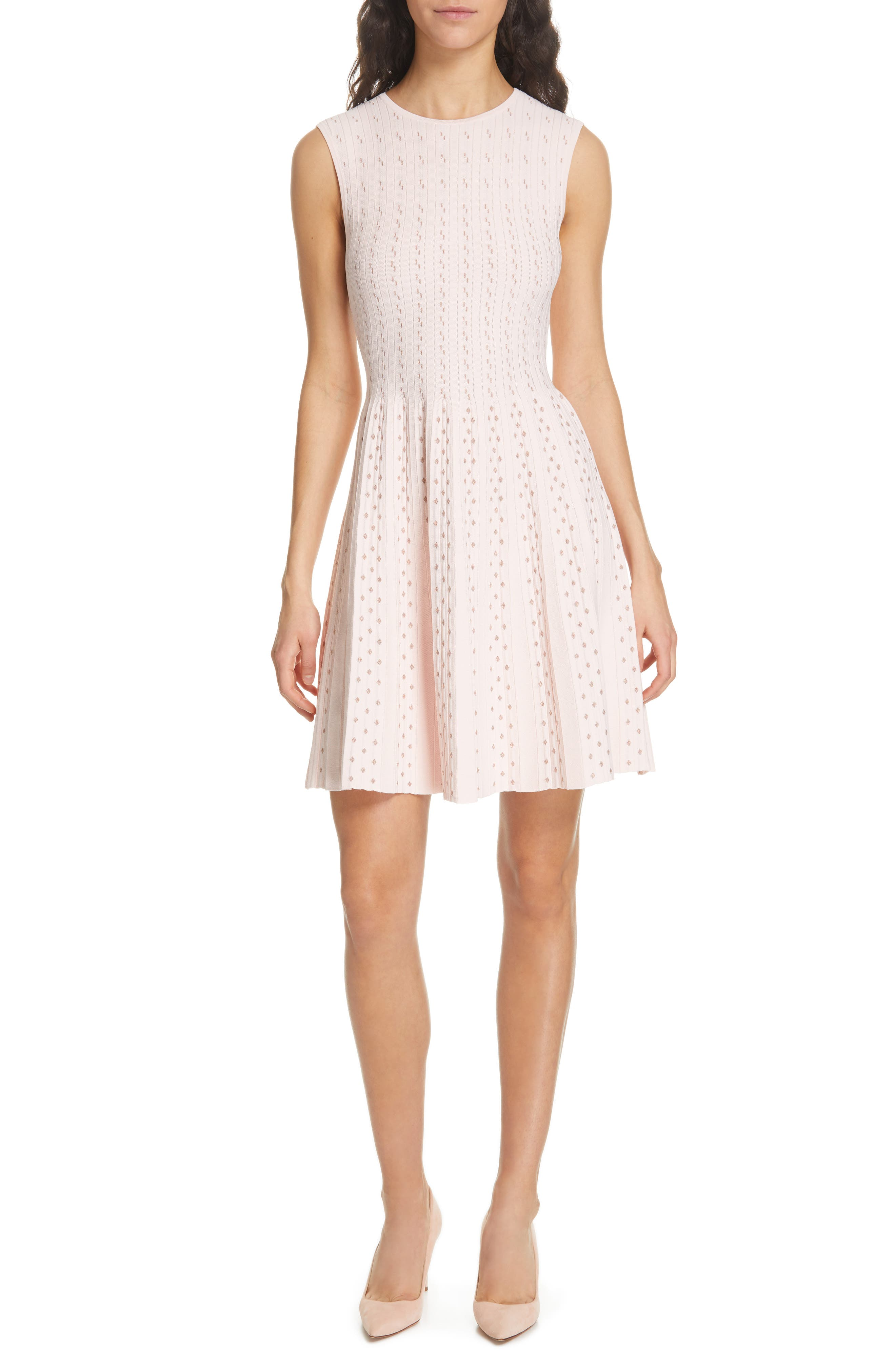Vellia Flippy Knit Skater Dress,                             Main thumbnail 1, color,                             PALE PINK