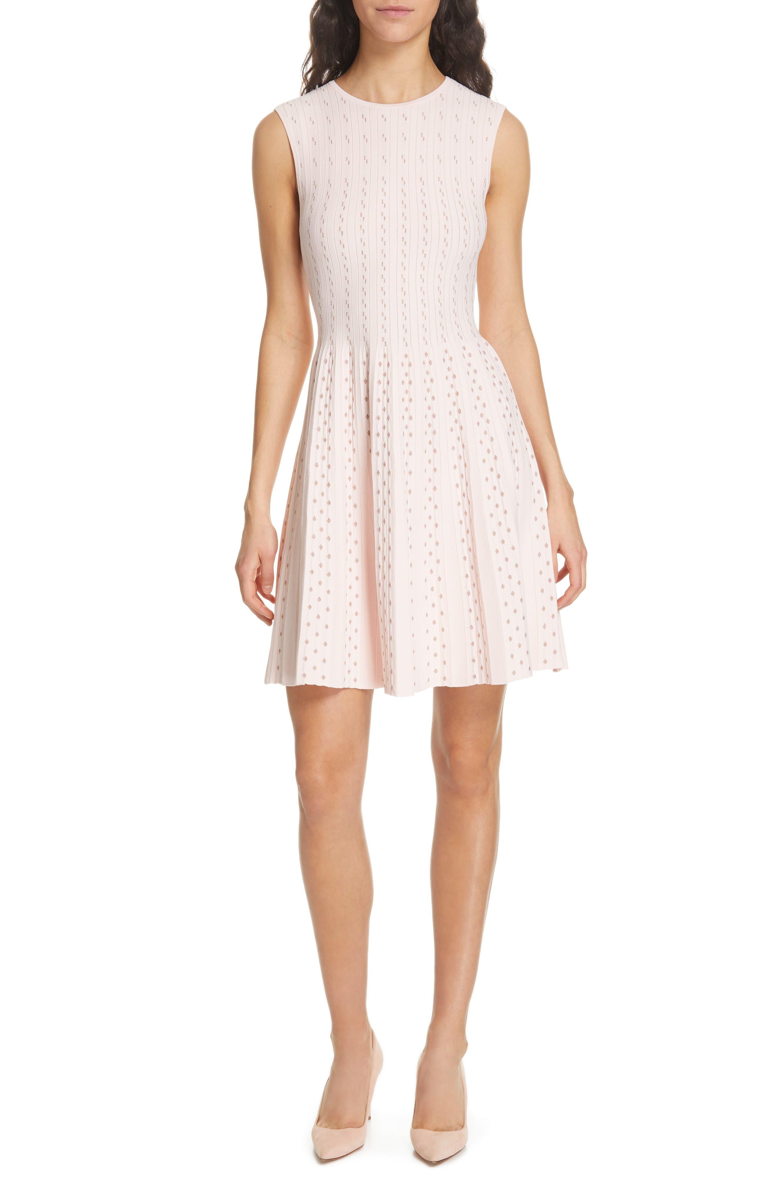 Vellia Flippy Knit Skater Dress, Main, color, PALE PINK
