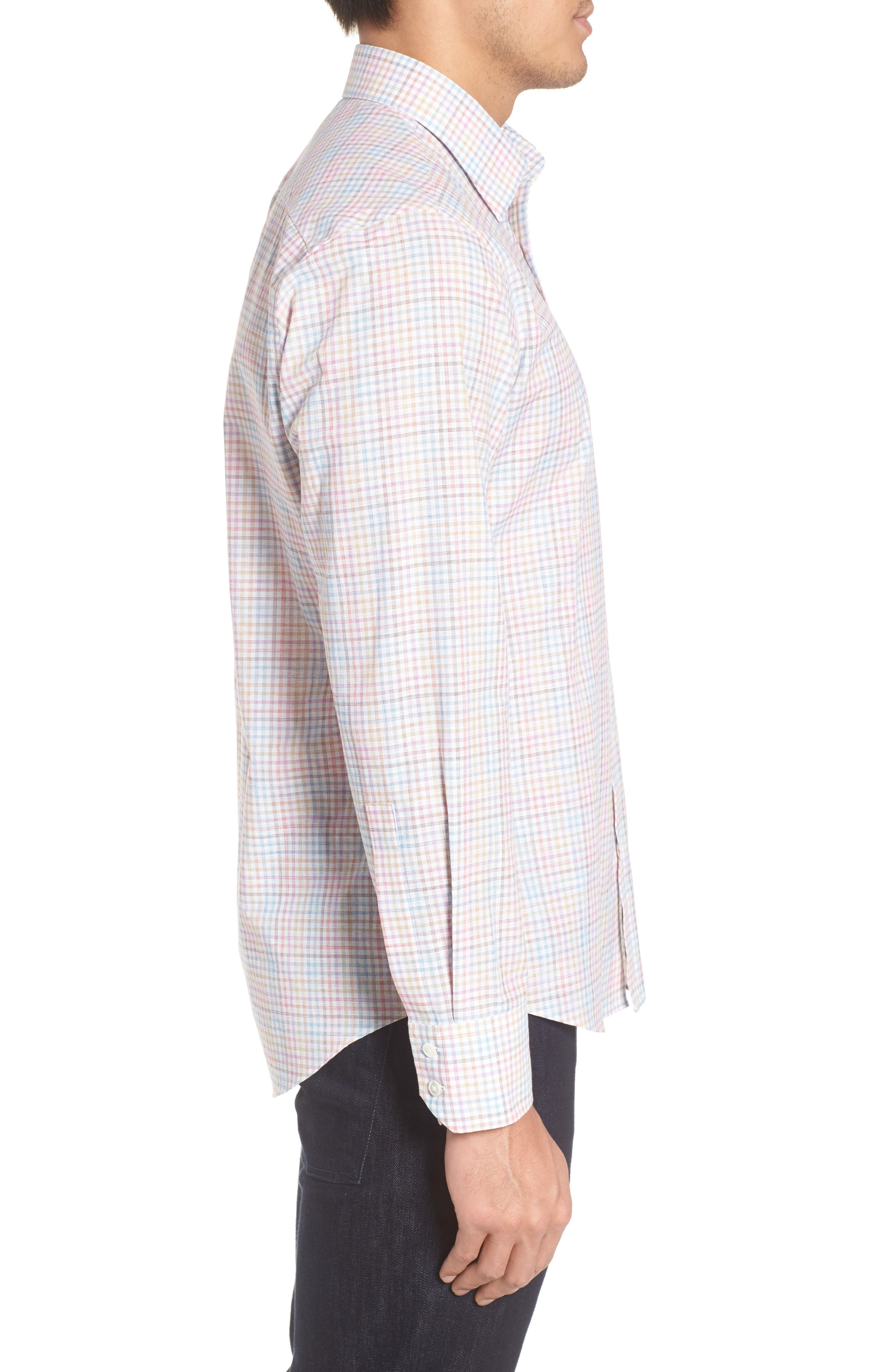 Jigwin Slim Fit Gingham Sport Shirt,                             Alternate thumbnail 3, color,                             100
