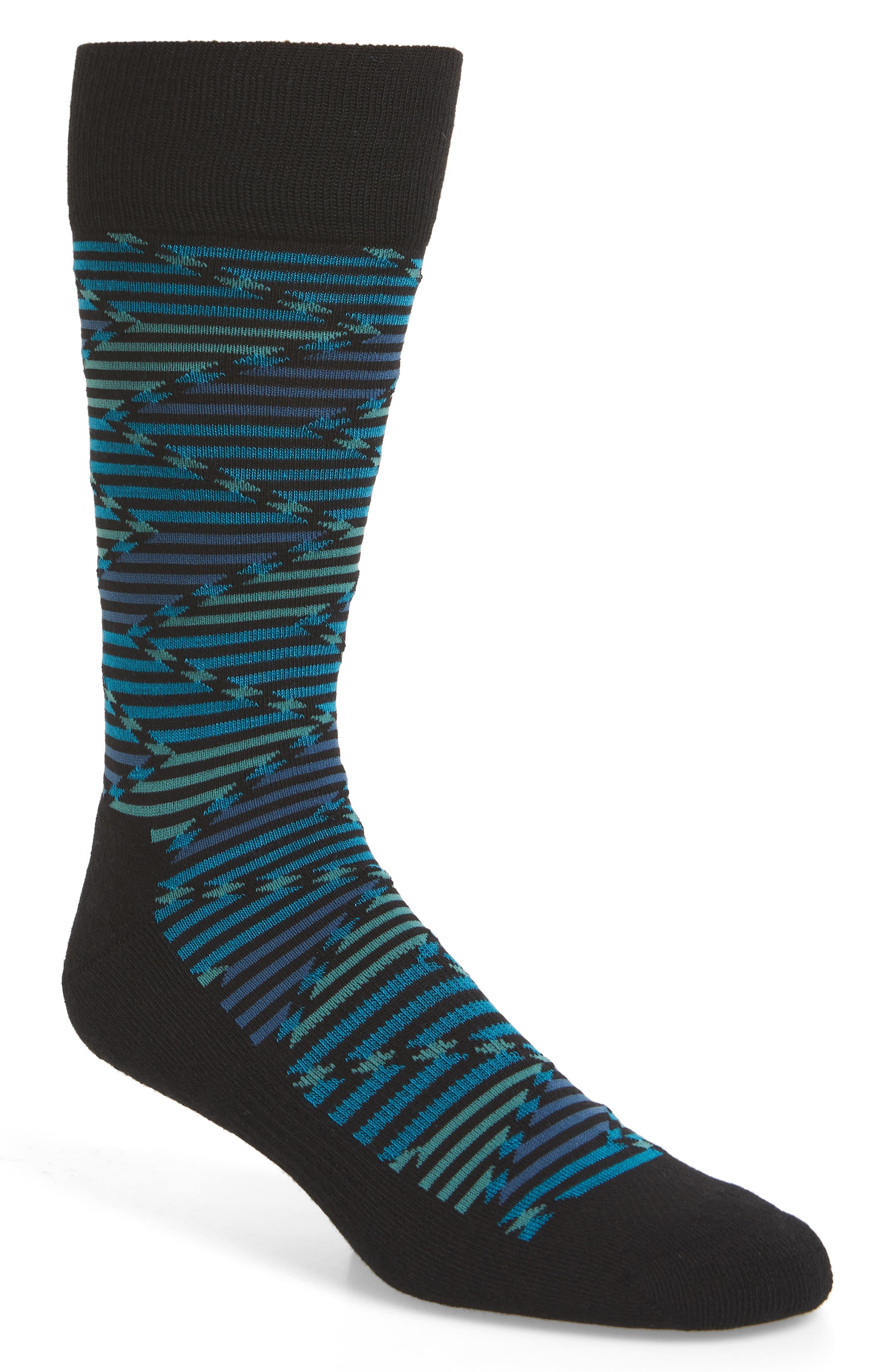 Stripe Socks,                         Main,                         color, BLACK/ TEAL