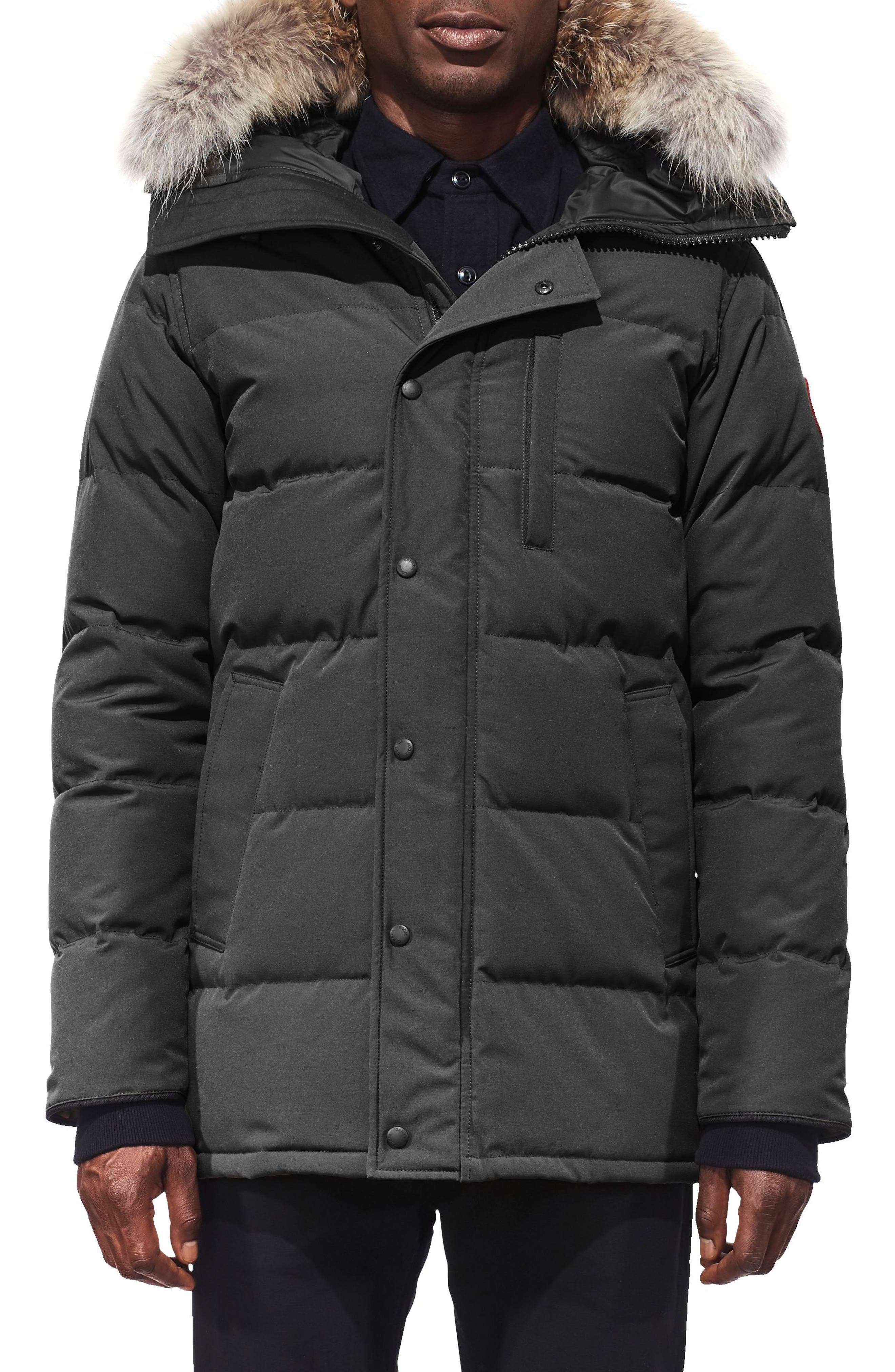 'Carson' Slim Fit Hooded Packable Parka with Genuine Coyote Fur Trim,                         Main,                         color, GRAPHITE