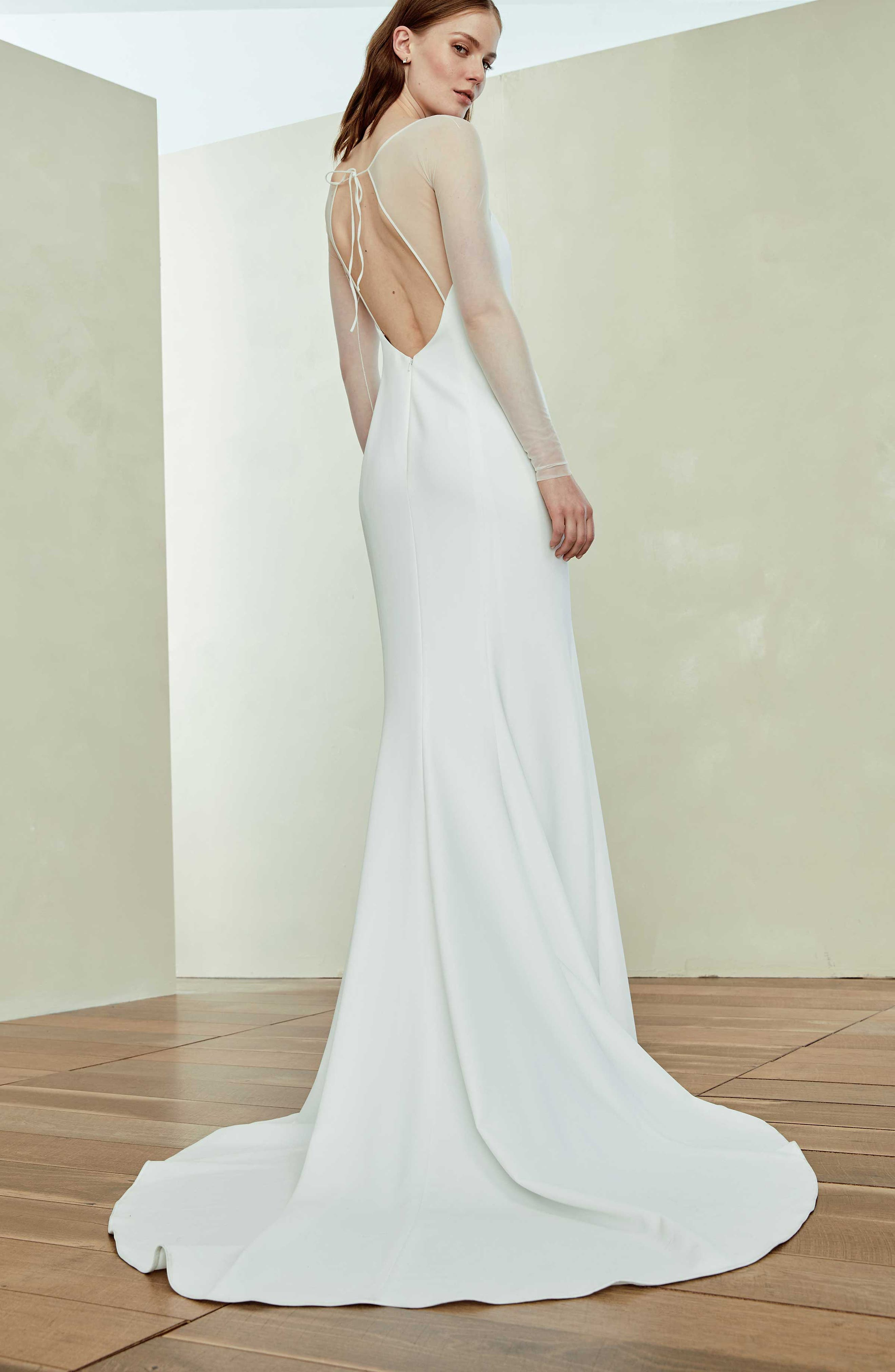 Illusion Sleeve Crepe Trumpet Gown,                             Alternate thumbnail 2, color,                             IVORY