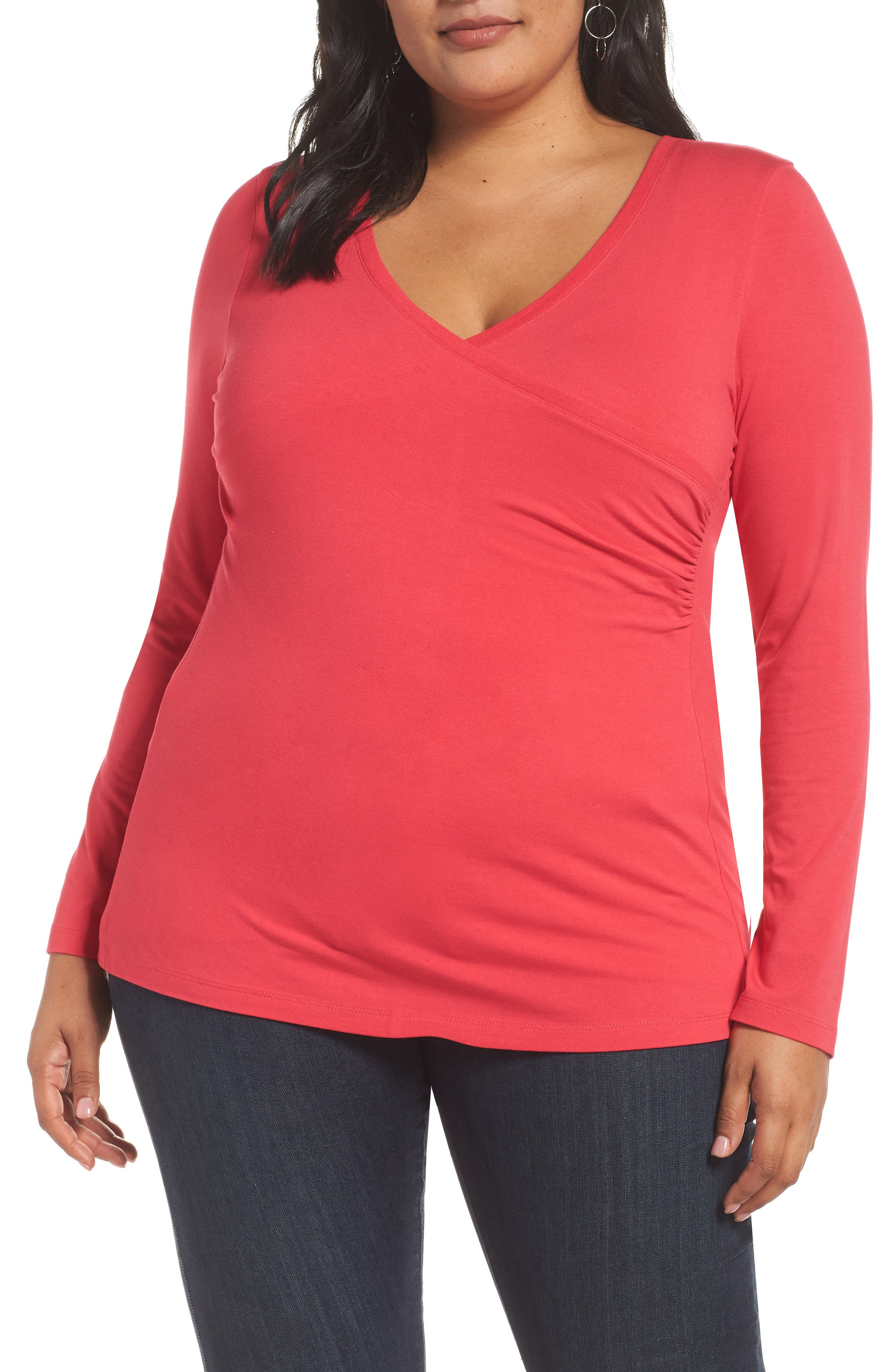Surplice Knit Top,                         Main,                         color, PINK ROSE