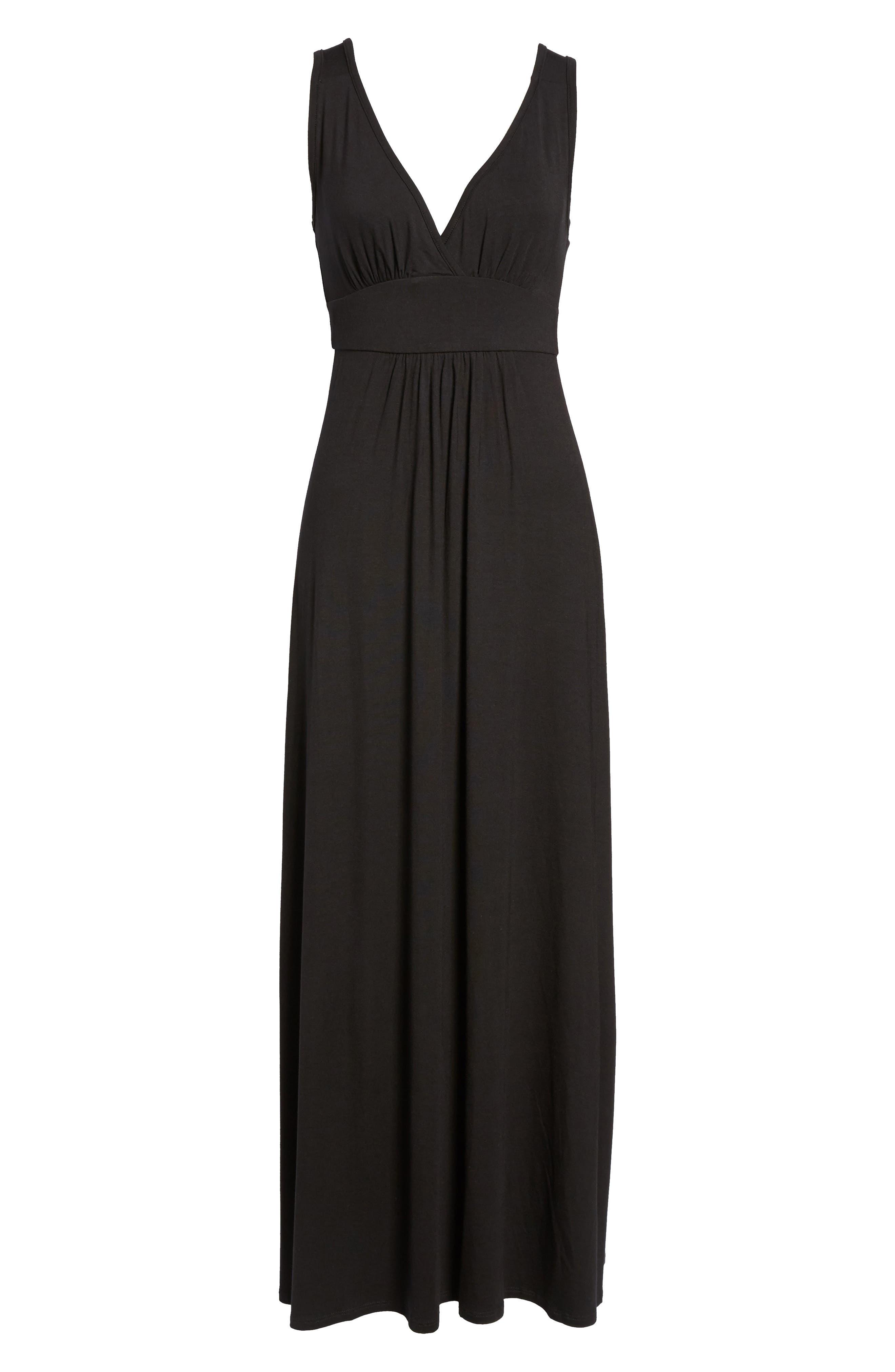 Loveappella V-Neck Jersey Maxi Dress, Black