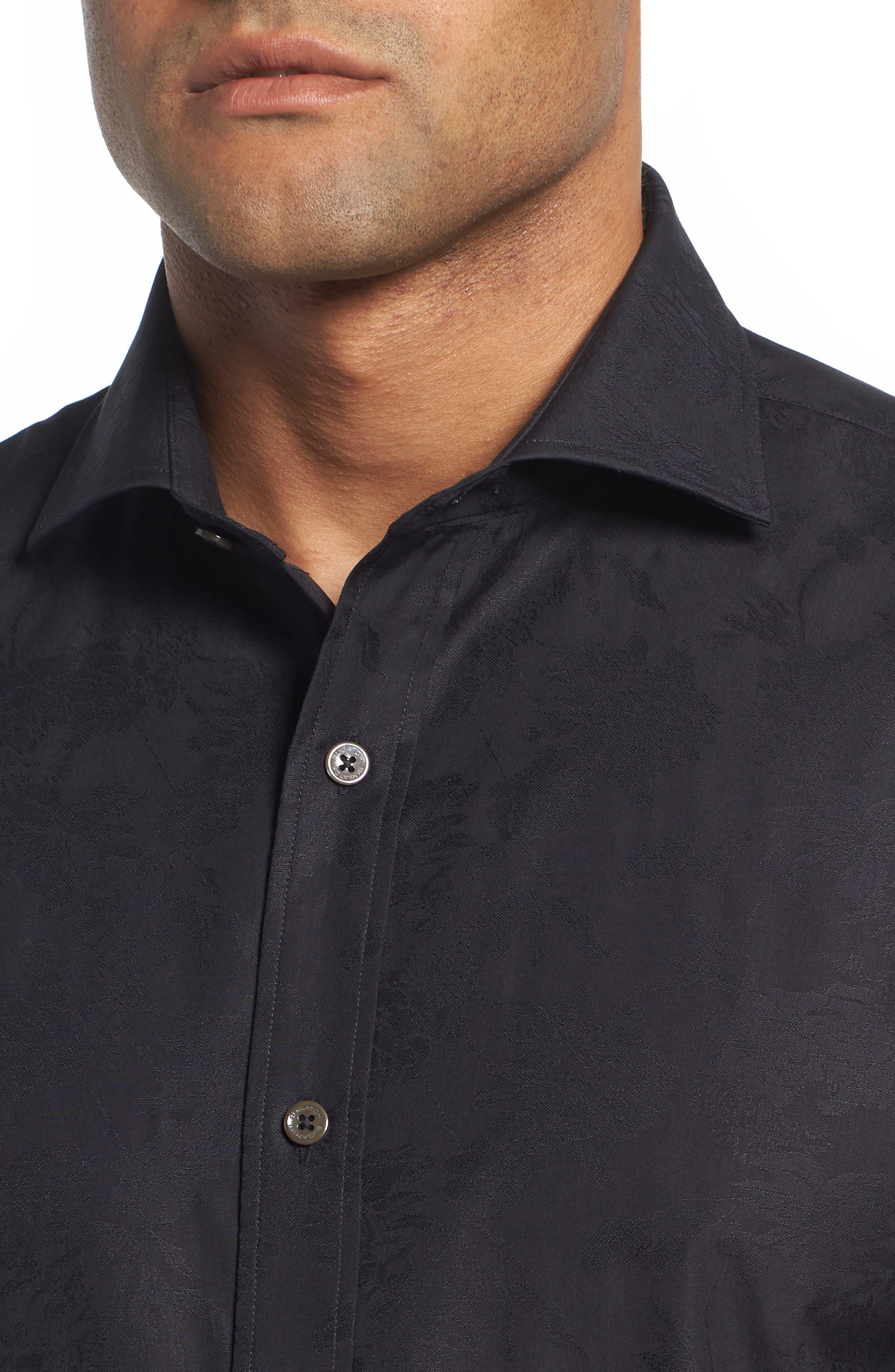 Classic Fit Tonal Jacquard Sport Shirt,                             Alternate thumbnail 4, color,                             BLACK