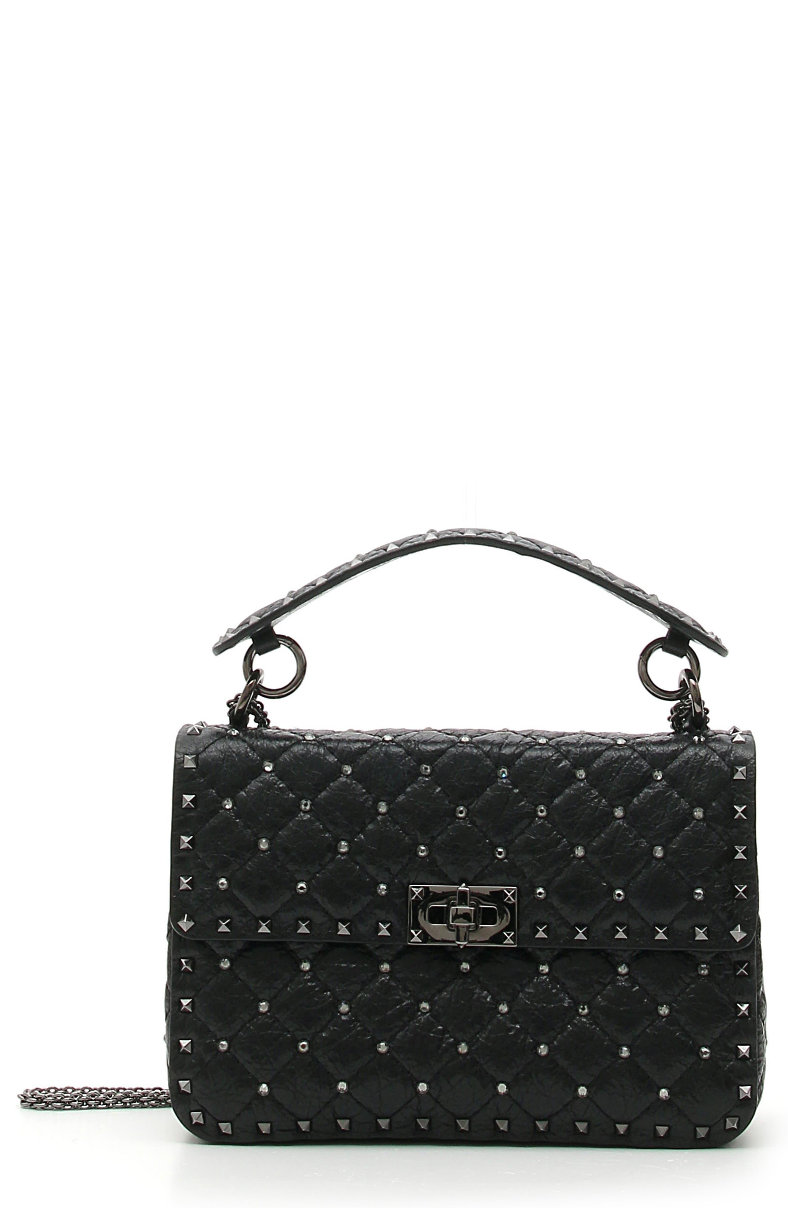 Medium Rockstud Matelassé Quilted Leather Shoulder Bag,                         Main,                         color, BLACK