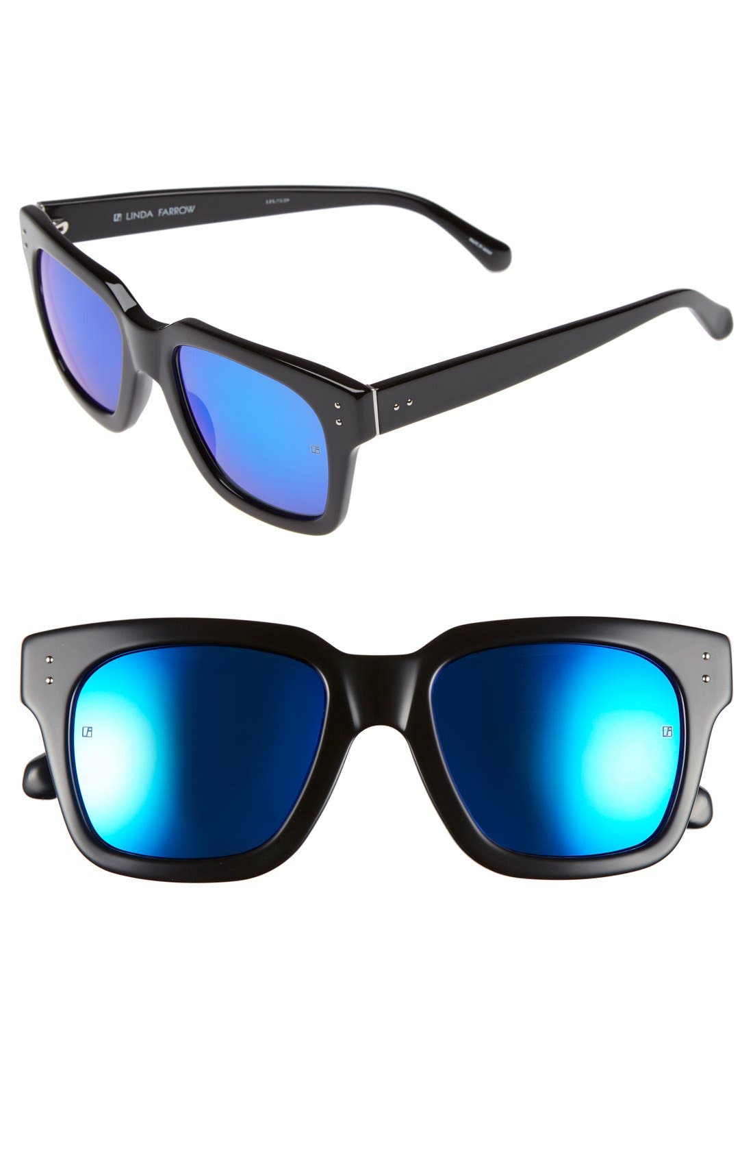 'D-Frame' 52mm Mirrored Lens Sunglasses,                         Main,                         color, BLACK/ BLUE
