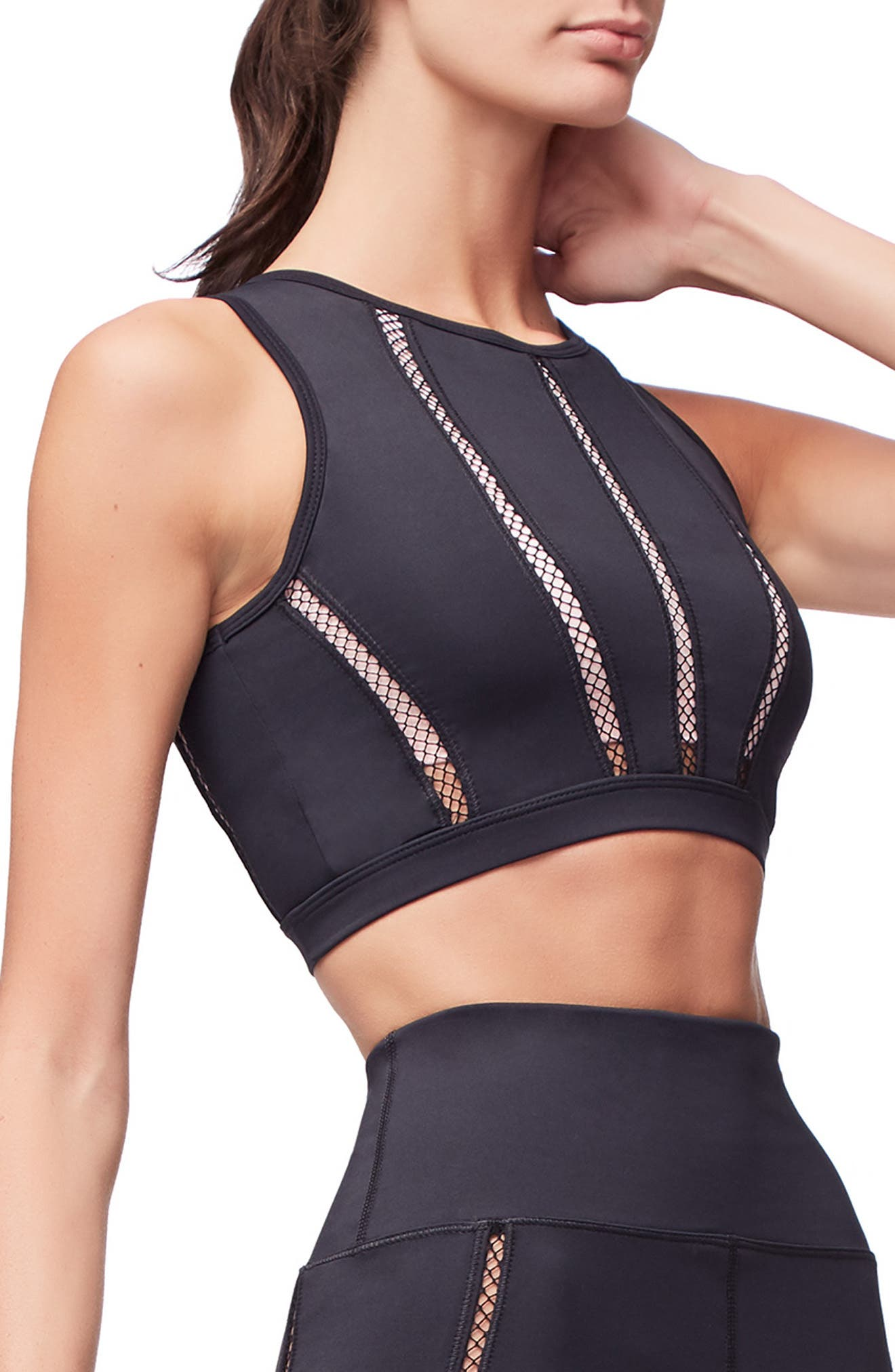 Mixed Mesh Crop Top,                             Alternate thumbnail 4, color,                             BLACK001