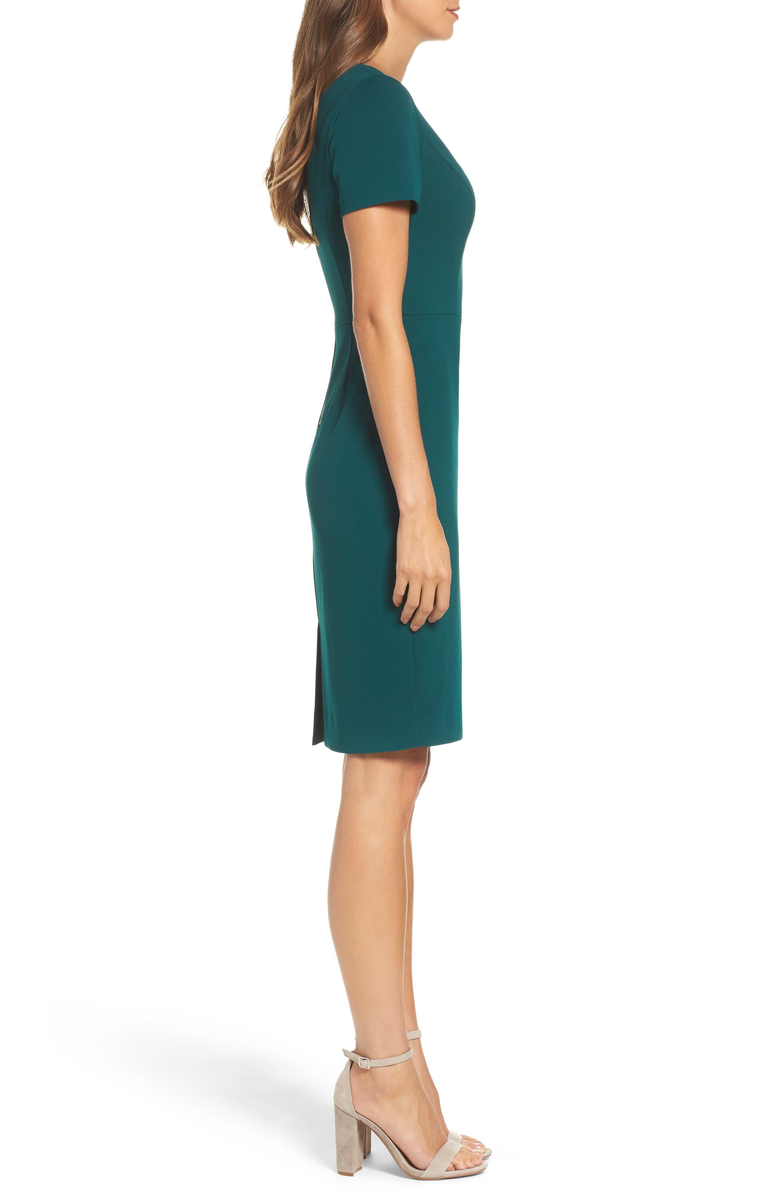 Scuba Crepe Sheath Dress,                             Alternate thumbnail 3, color,