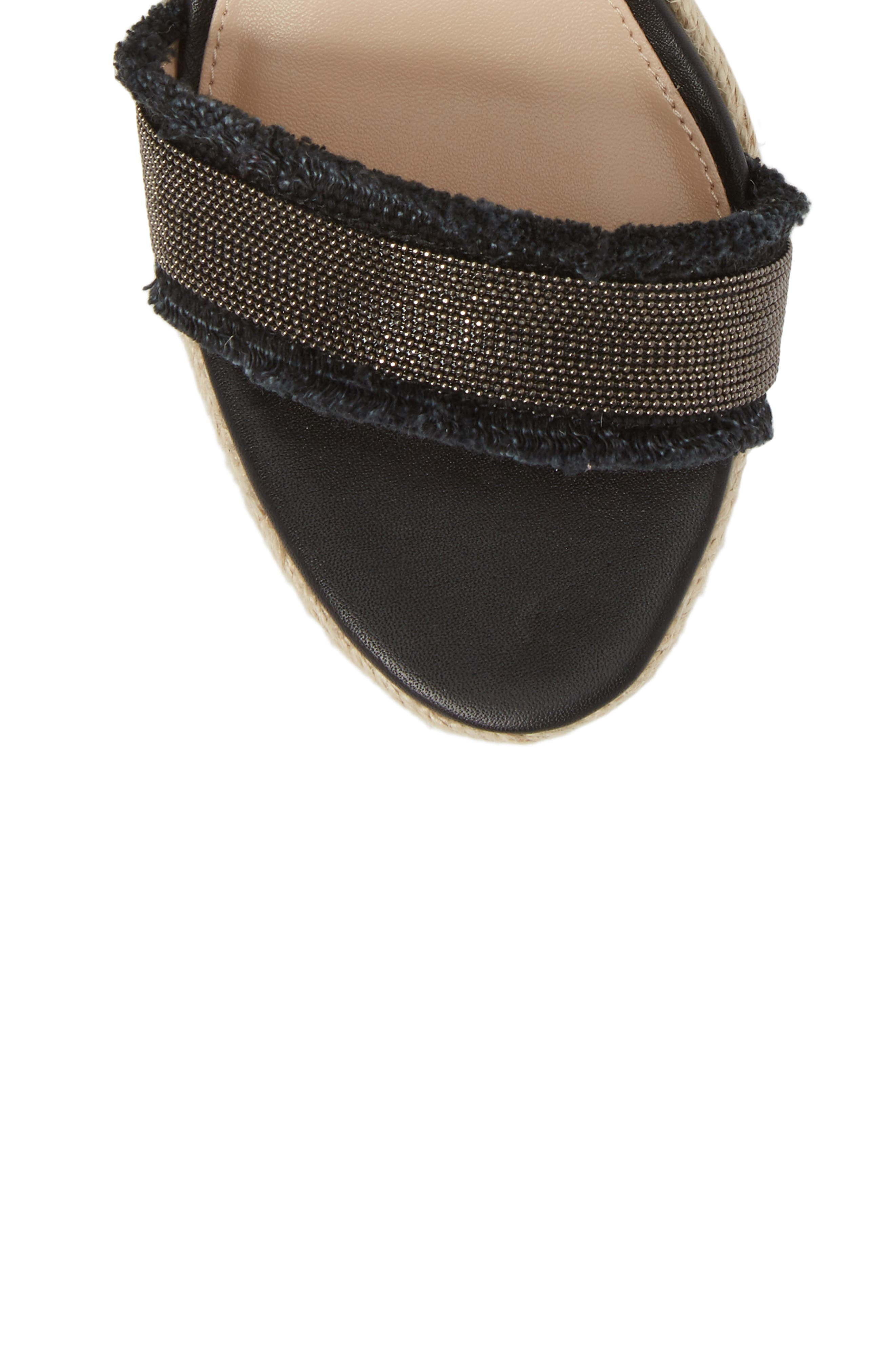 Radley Espadrille Wedge Sandal,                             Alternate thumbnail 5, color,                             BLACK LEATHER