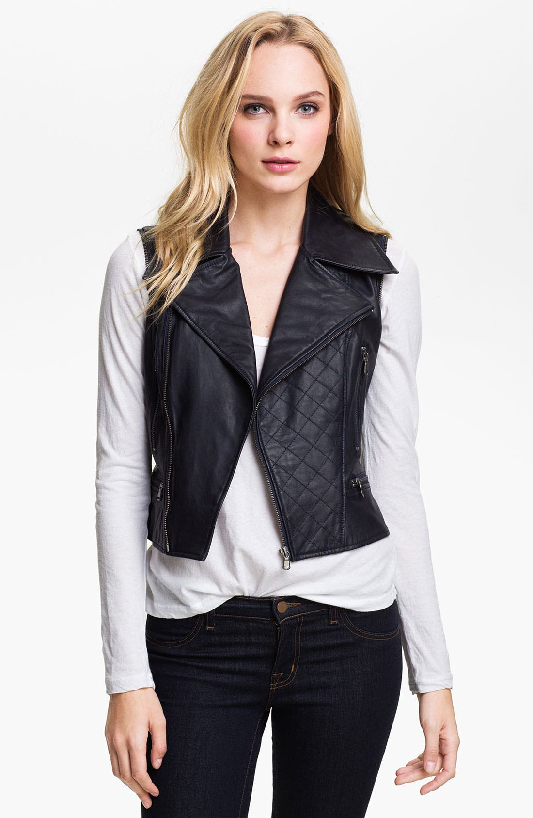 Kenna-T Convertible Quilted Leather Biker Jacket,                             Alternate thumbnail 4, color,                             410
