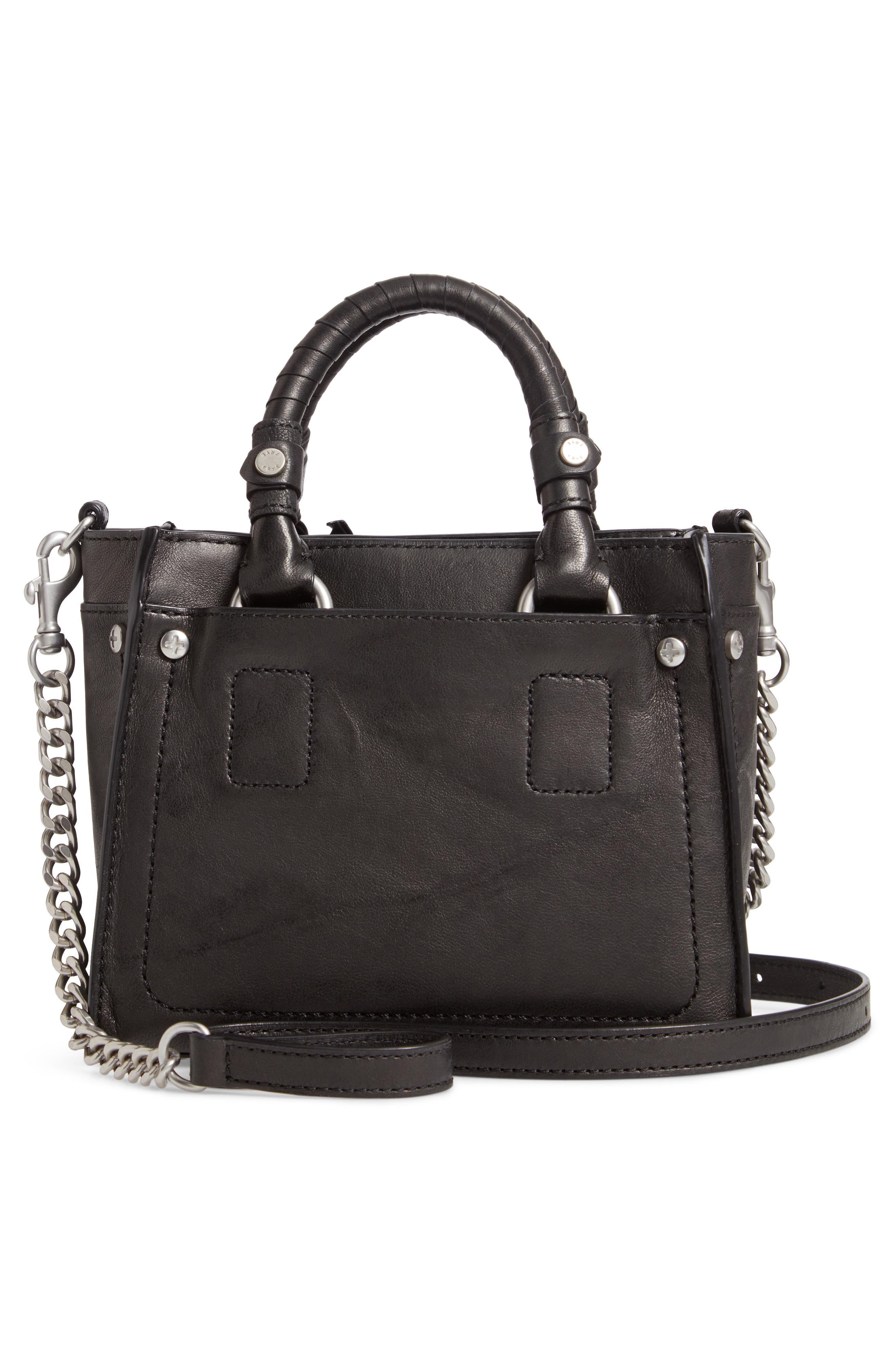 Mini Demi Leather Satchel,                             Alternate thumbnail 3, color,                             BLACK