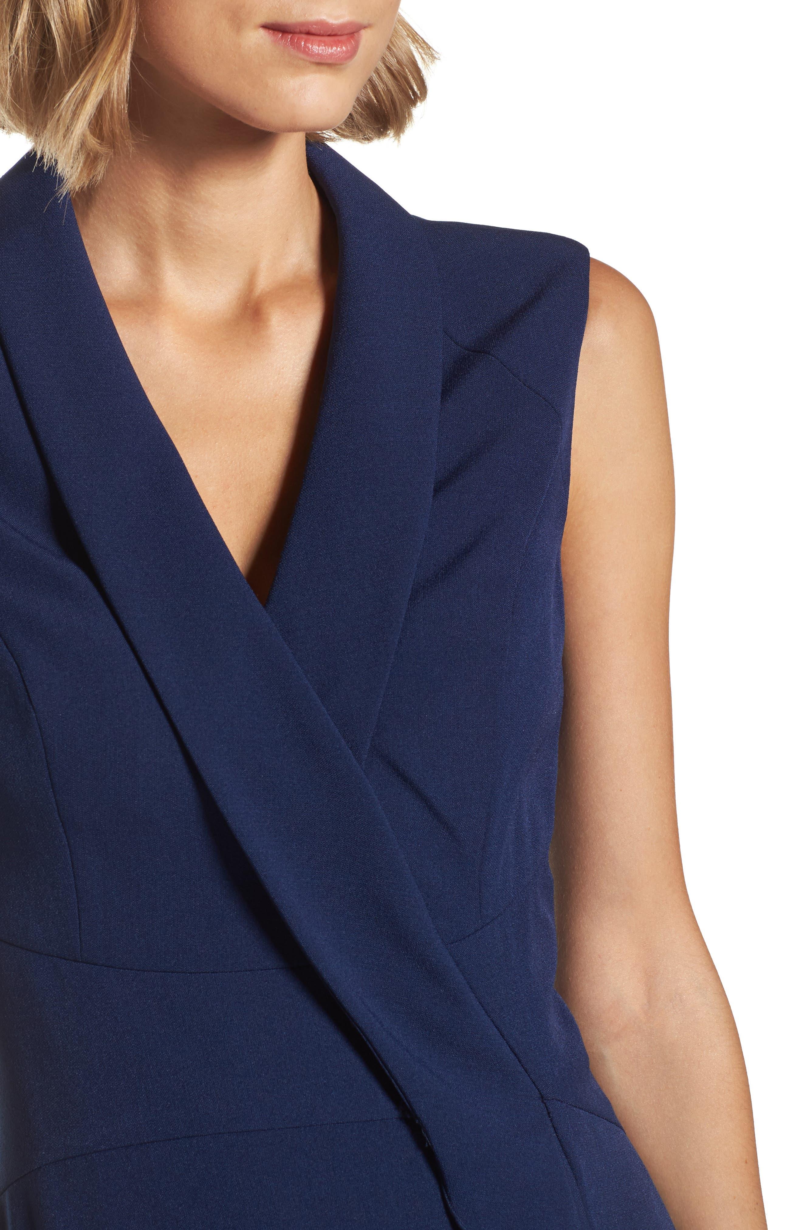 Stretch Crepe A-Line Dress,                             Alternate thumbnail 4, color,                             413