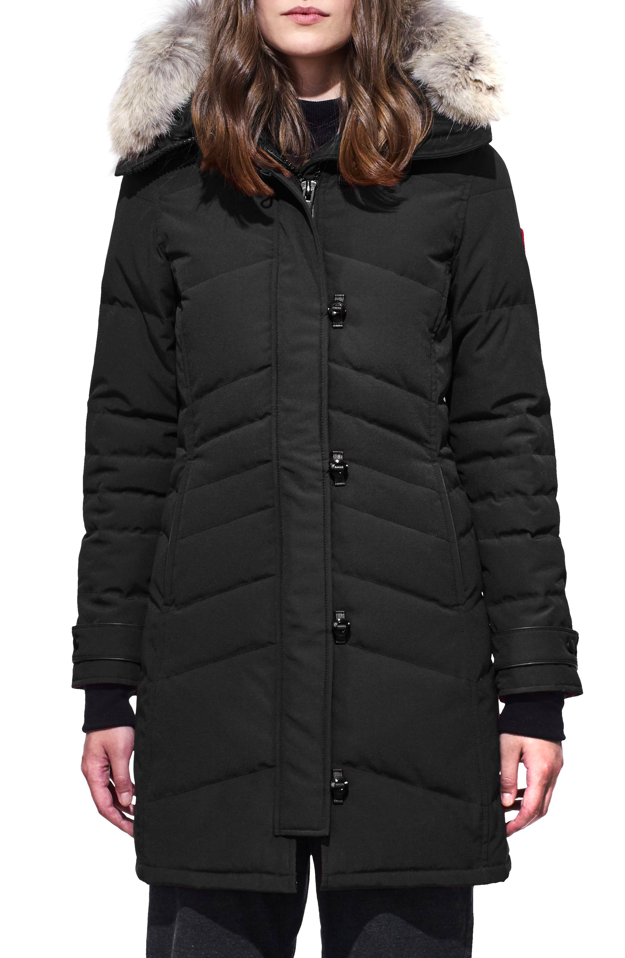 Lorette Fusion Fit Hooded Down Parka with Genuine Coyote Fur Trim,                             Main thumbnail 1, color,                             001