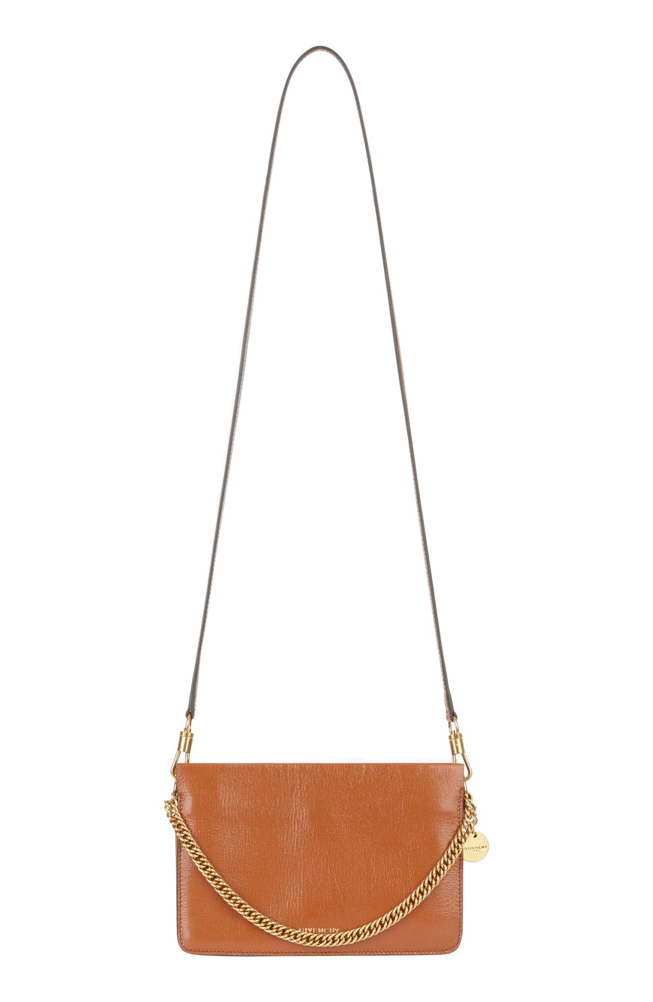 GIVENCHY,                             Cross 3 Leather Crossbody Bag,                             Alternate thumbnail 7, color,                             CHESTNUT