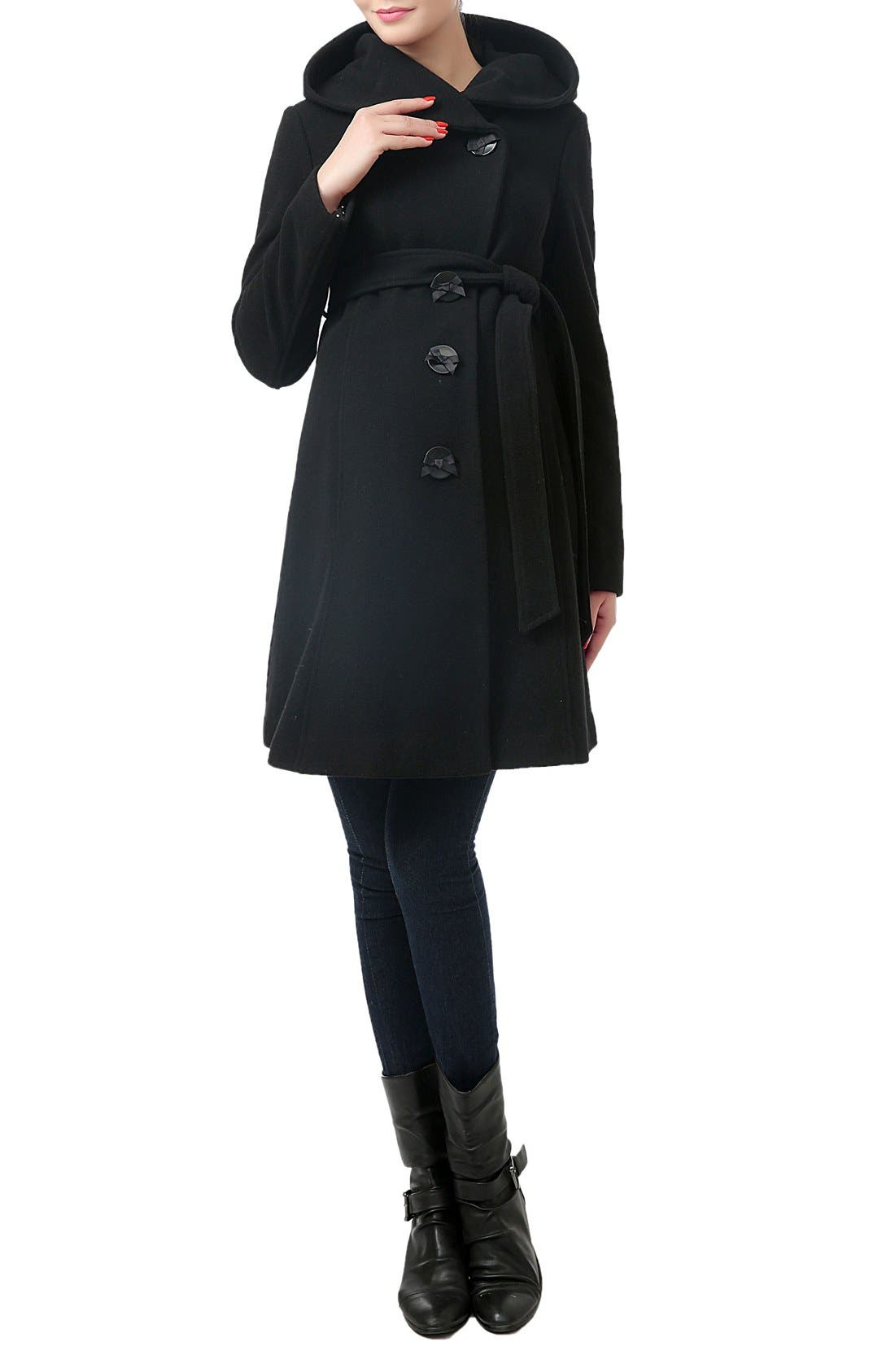 KIMI AND KAI,                             'Lora' Wool Blend Maternity Coat,                             Alternate thumbnail 3, color,                             BLACK