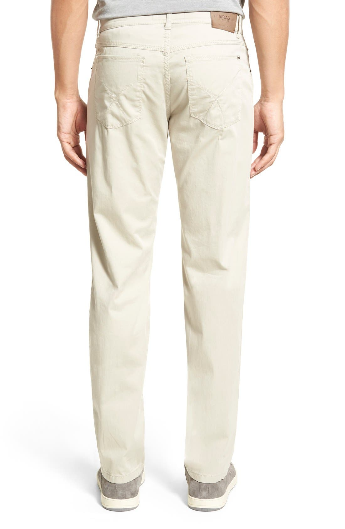 Flat Front Stretch Cotton Straight Leg Trousers,                             Alternate thumbnail 3, color,                             PAPER