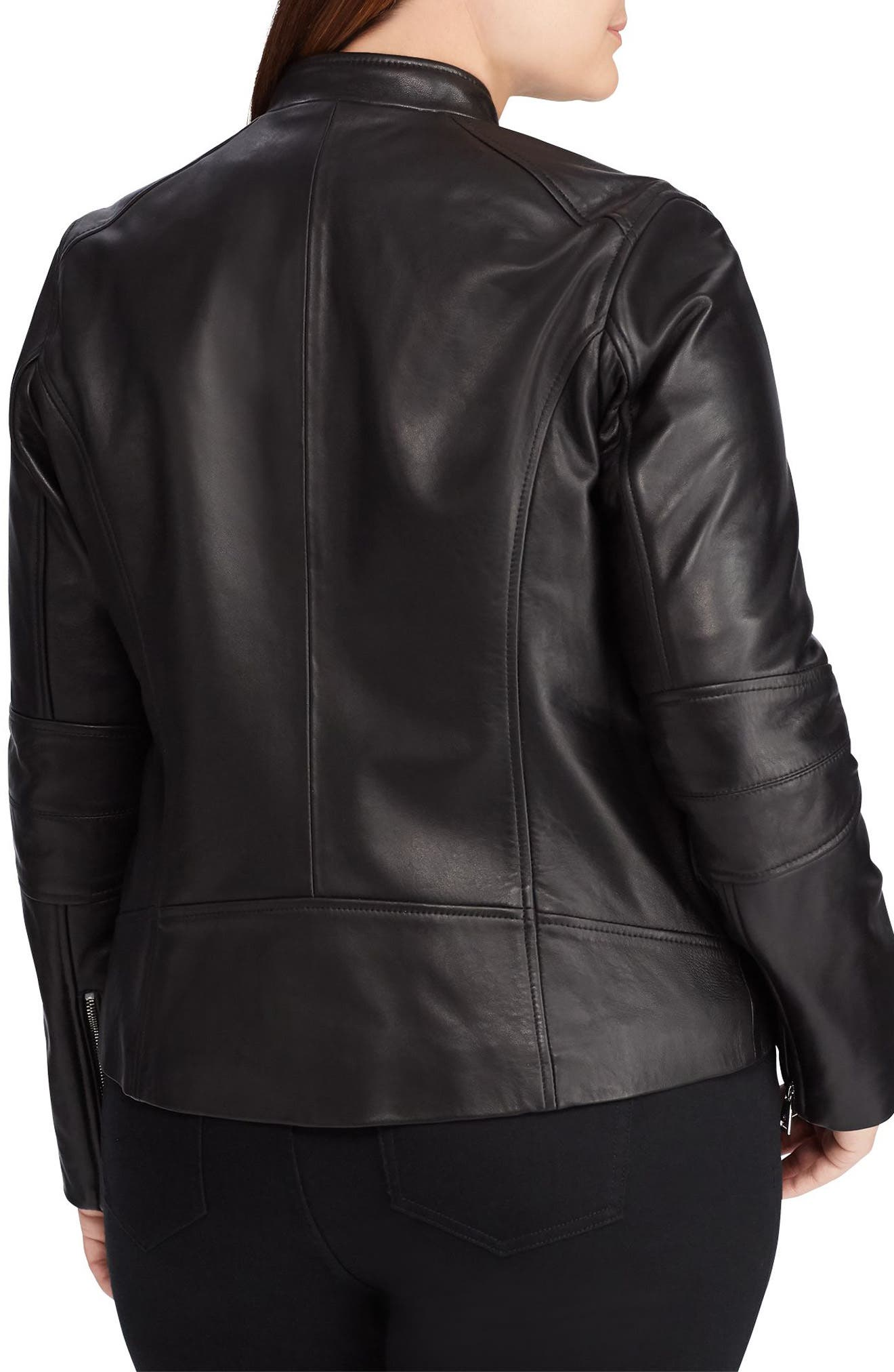 LAUREN RALPH LAUREN,                             Leather Moto Jacket,                             Alternate thumbnail 2, color,                             005